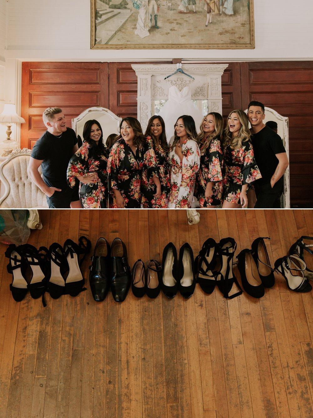 Bridal party photos during preparation at San Diego wedding venue