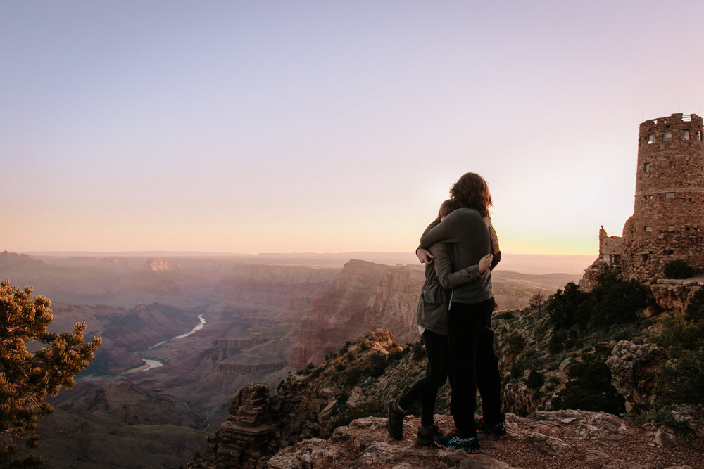 Sunrise over Desert View Watchtower at Grand Canyon by San Diego photographer Paige Nelson