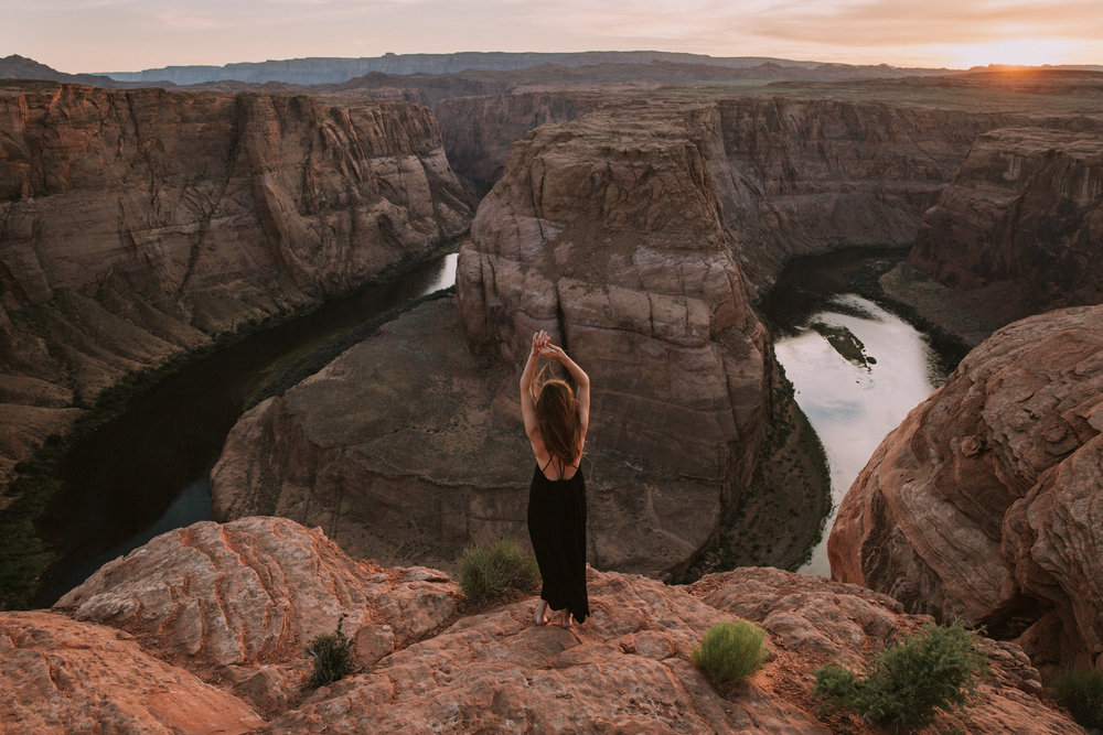 Self portrait at Horseshoe Bend in Page, Arizona by San Diego photographer Paige Nelson