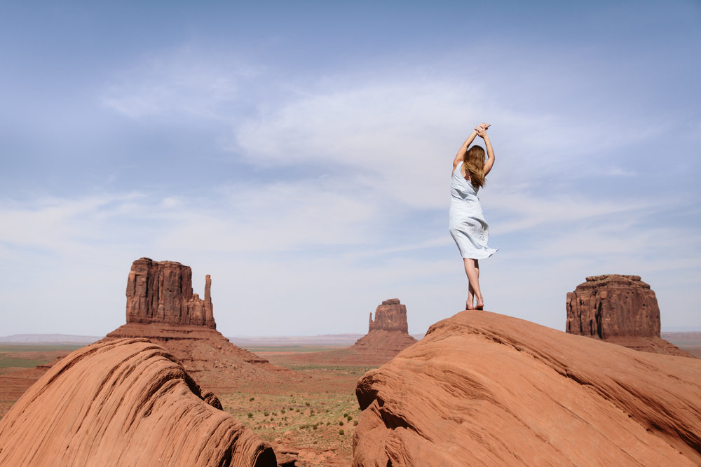 Self portrait at Monument Valley, Utah by San Diego photographer Paige Nelson
