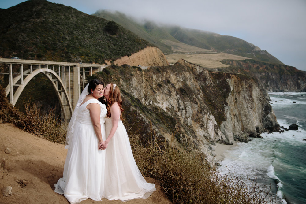 Lesbian elopement at Bixby Bridge in Big Sur by San Diego photographer Paige Nelson