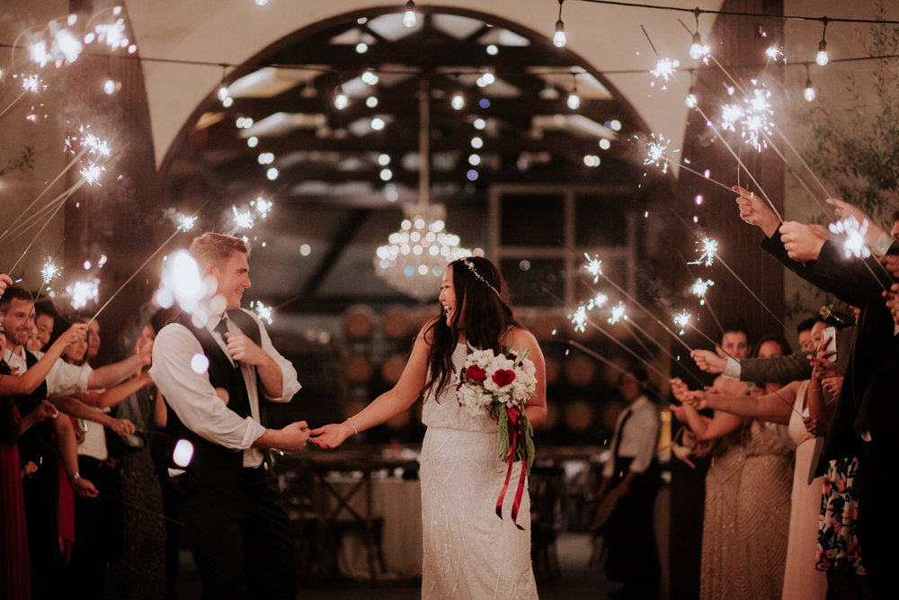 Sparkler exit at Folktale Winery in Carmel by San Diego photographer Paige Nelson