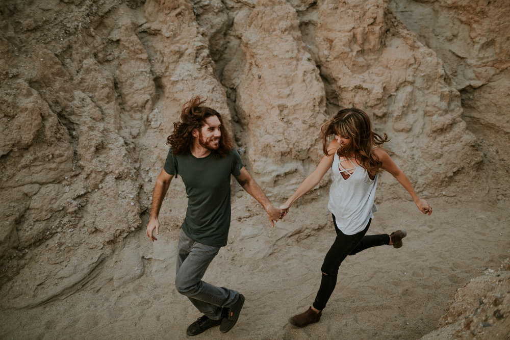Couples portraits at Anza borrego slot canyon by Corinne Alexandra