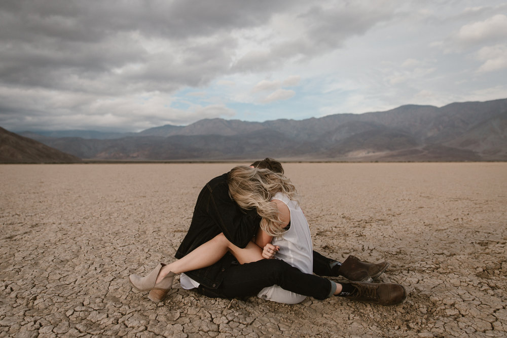 Desert engagement at Dry lake bed in Anza Borrego by San Diego photographer Paige Nelson