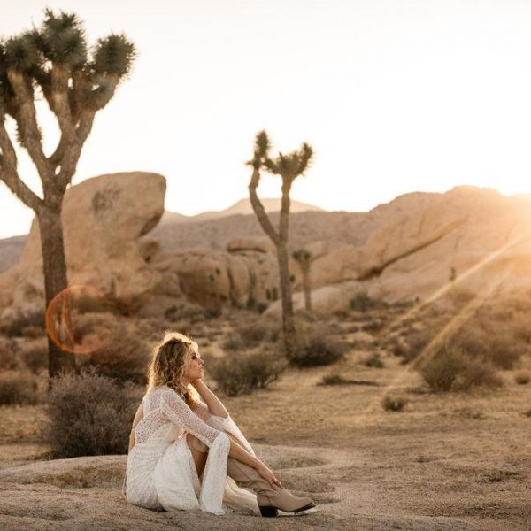 Bohemian bridal portraits in Joshua Tree