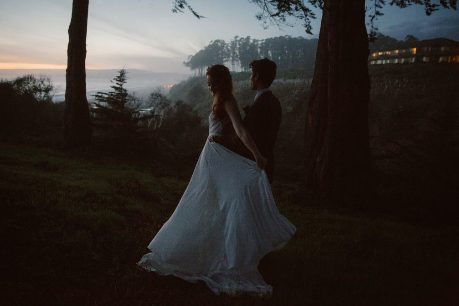 Twilight wedding portraits at Santa Cruz bluffs by Paige Nelson