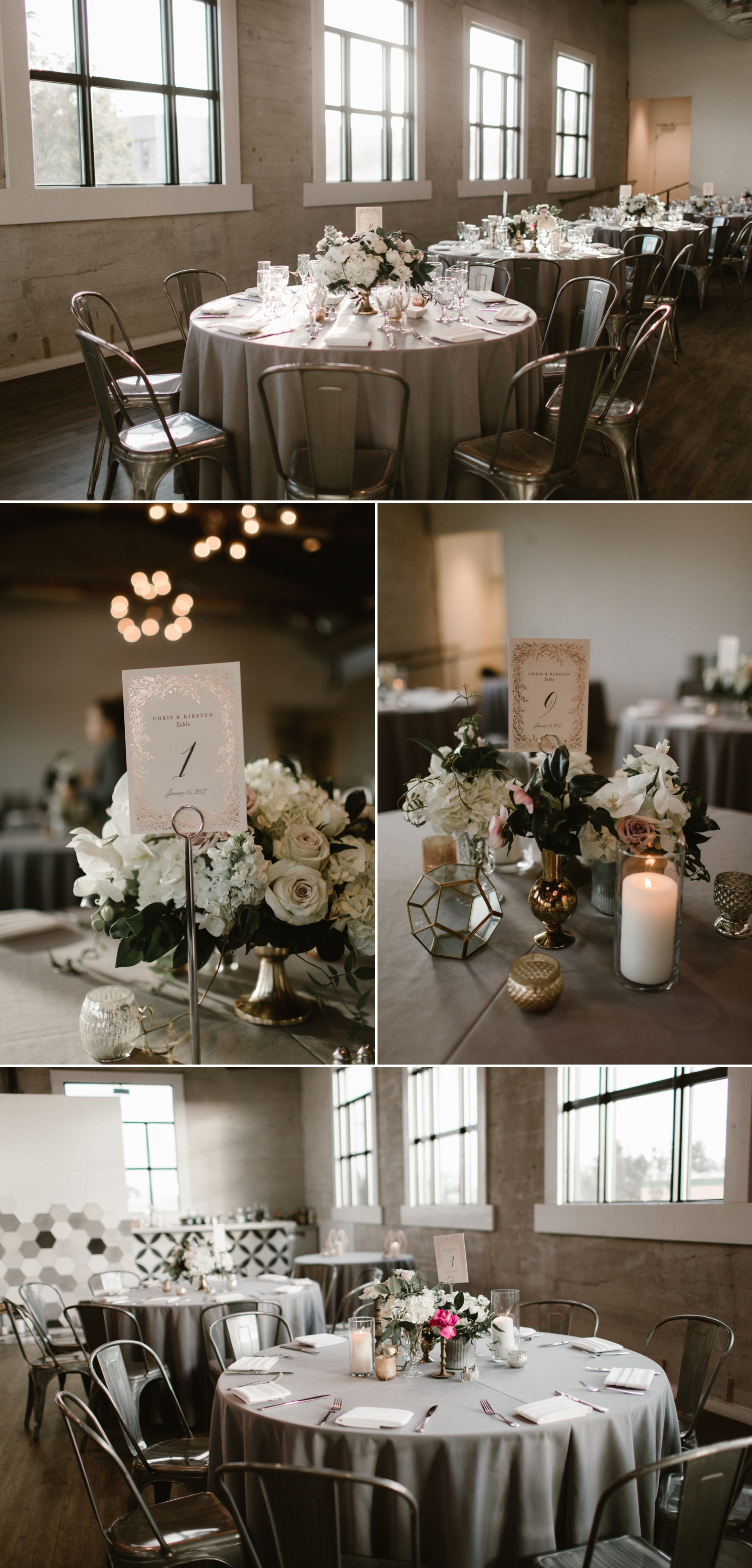 Indoor wedding reception at 1912 in Santa Ana by Paige Nelson