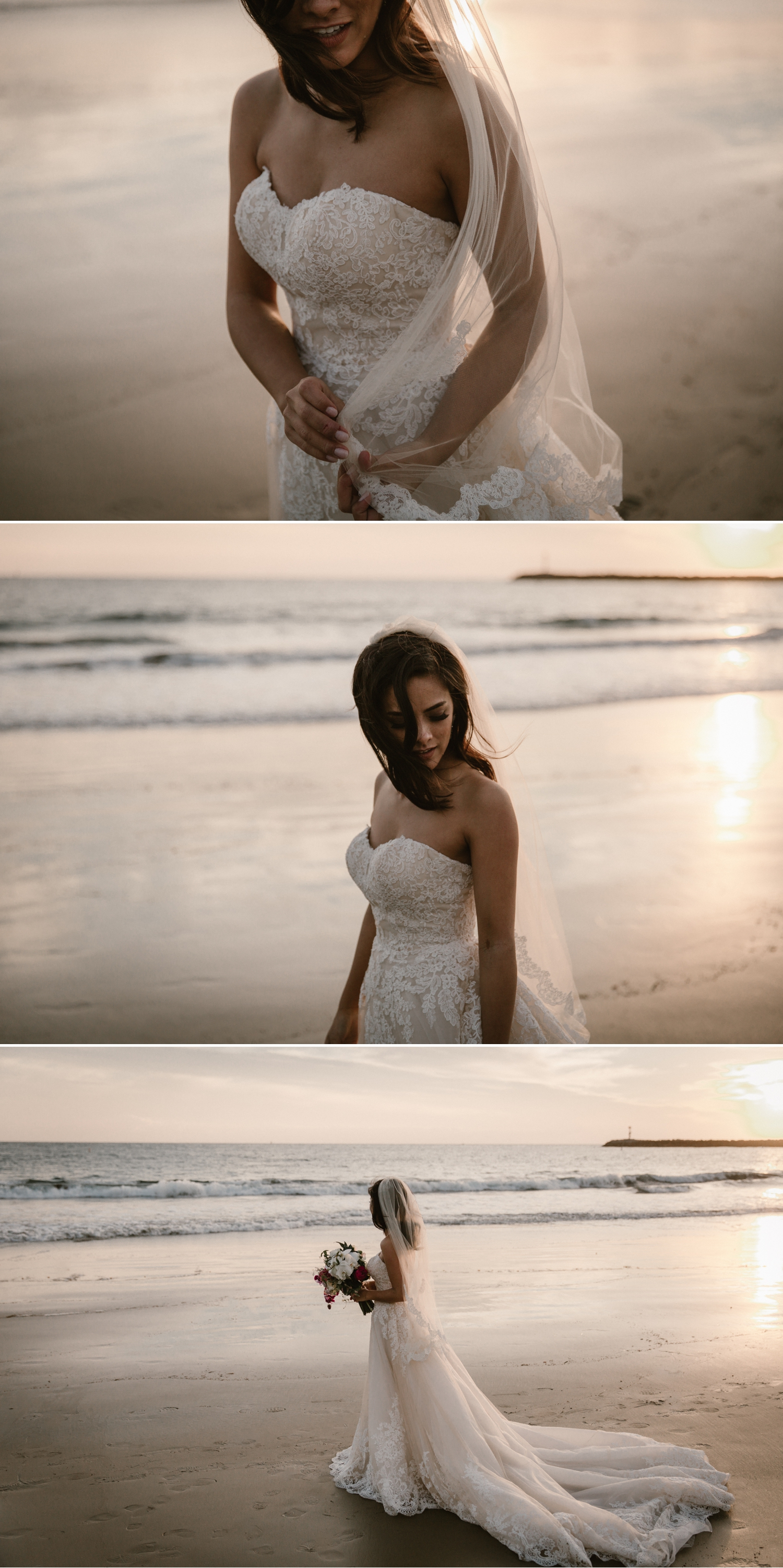 Beach bridal portraits at Inspiration Point in Corona del Mar by Paige Nelson