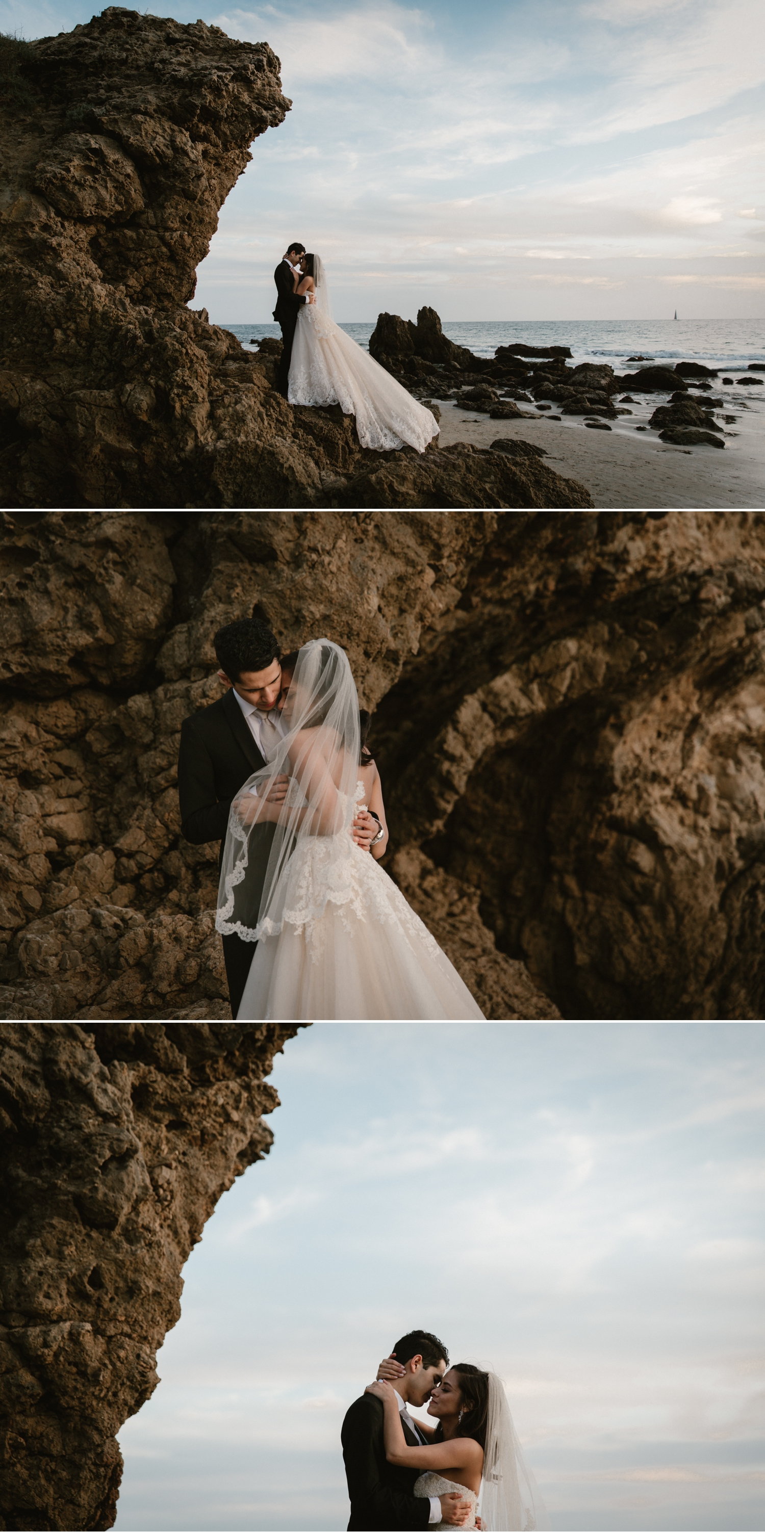 Beach wedding portraits at Inspiration Point in Corona del Mar by Paige Nelson