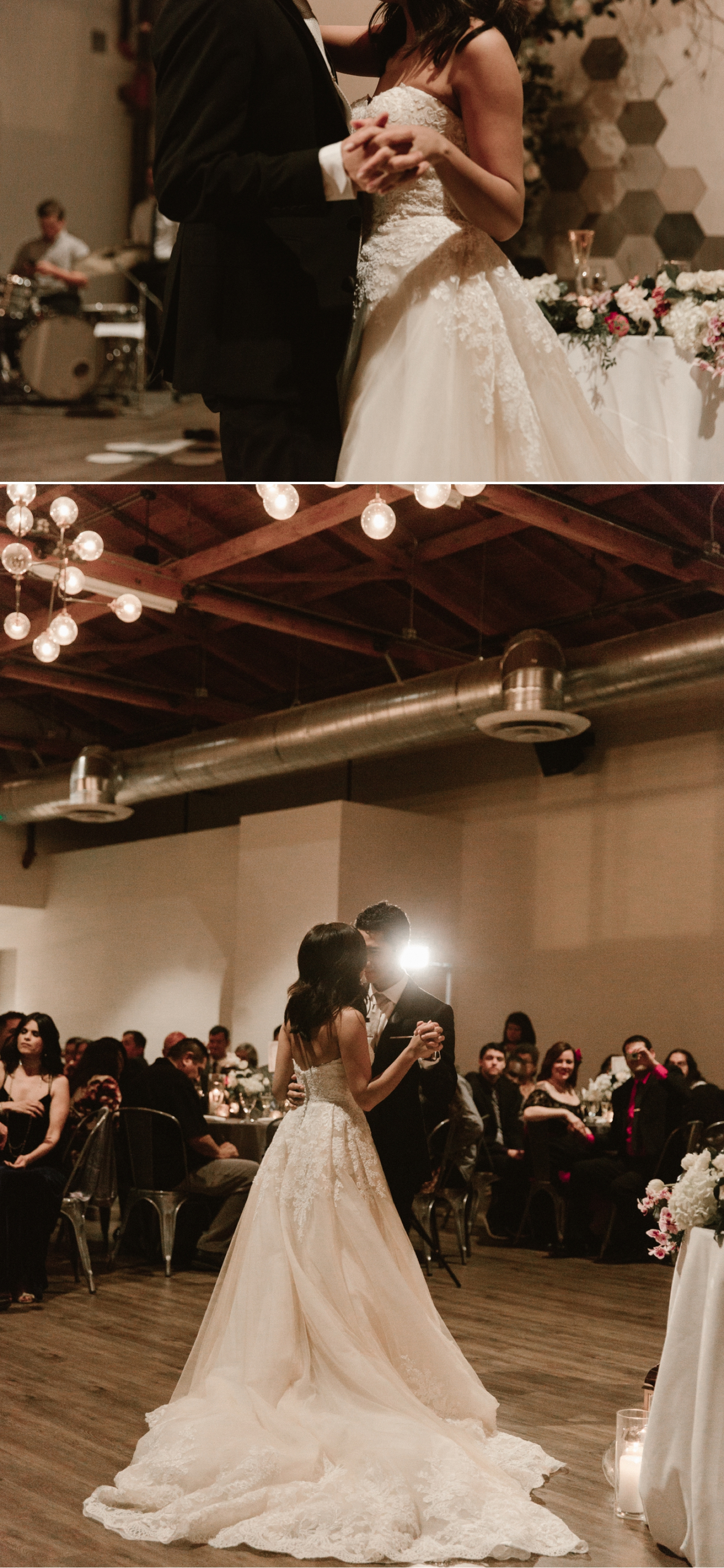 Bride and groom first dance, Indoor wedding reception at 1912 in Santa Ana by Paige Nelson