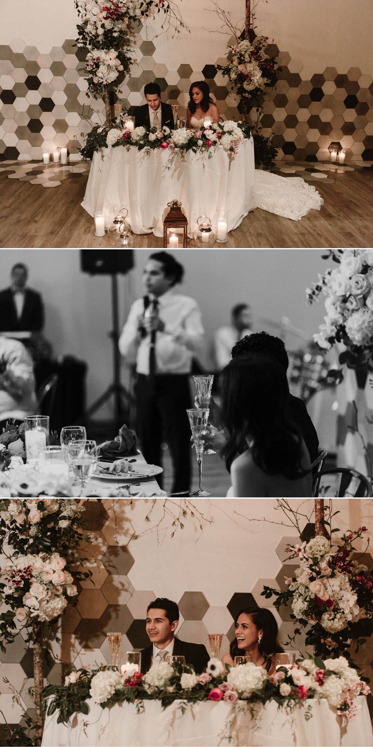 Toasts, Indoor wedding reception at 1912 in Santa Ana by Paige Nelson