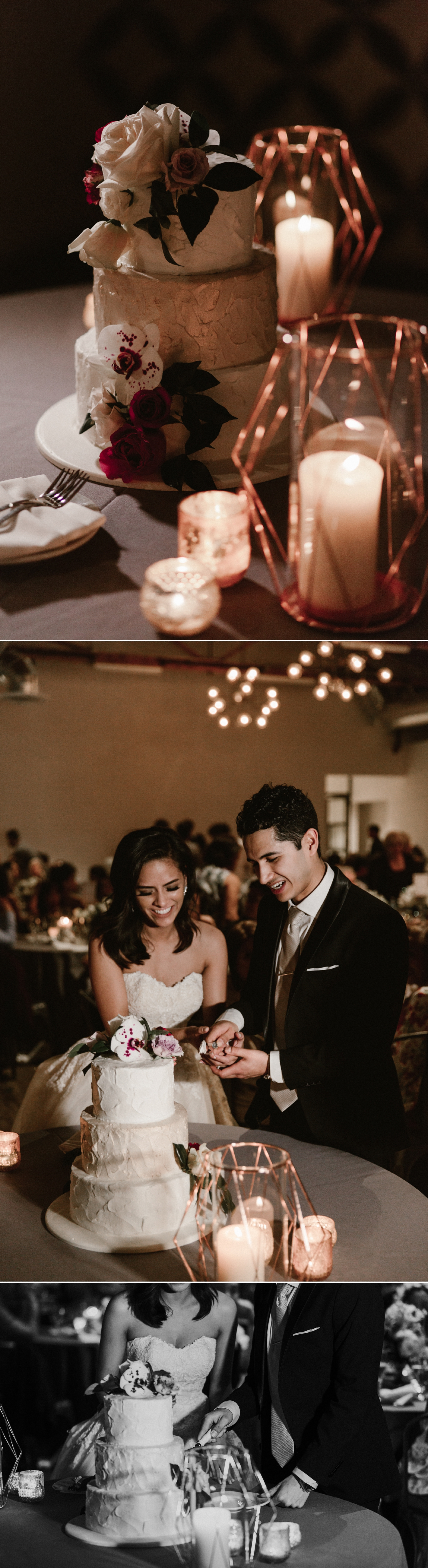 Cake cutting, Indoor wedding reception at 1912 in Santa Ana by Paige Nelson