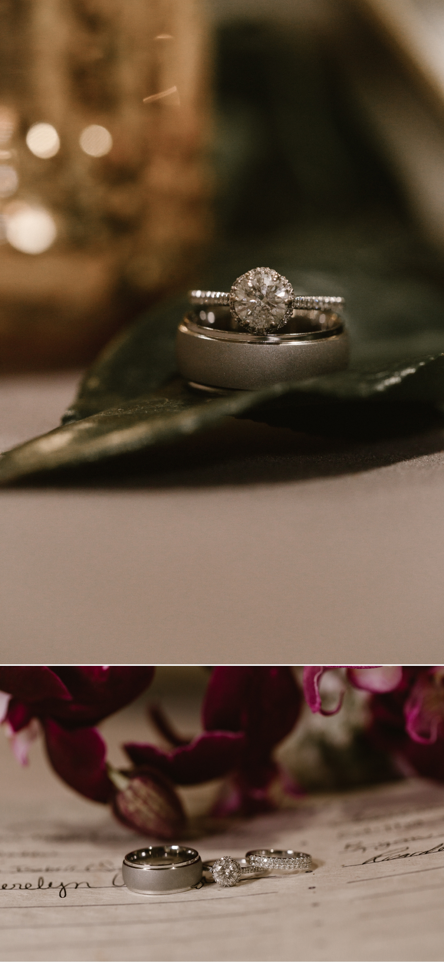Wedding rings, Indoor wedding reception at 1912 in Santa Ana by Paige Nelson