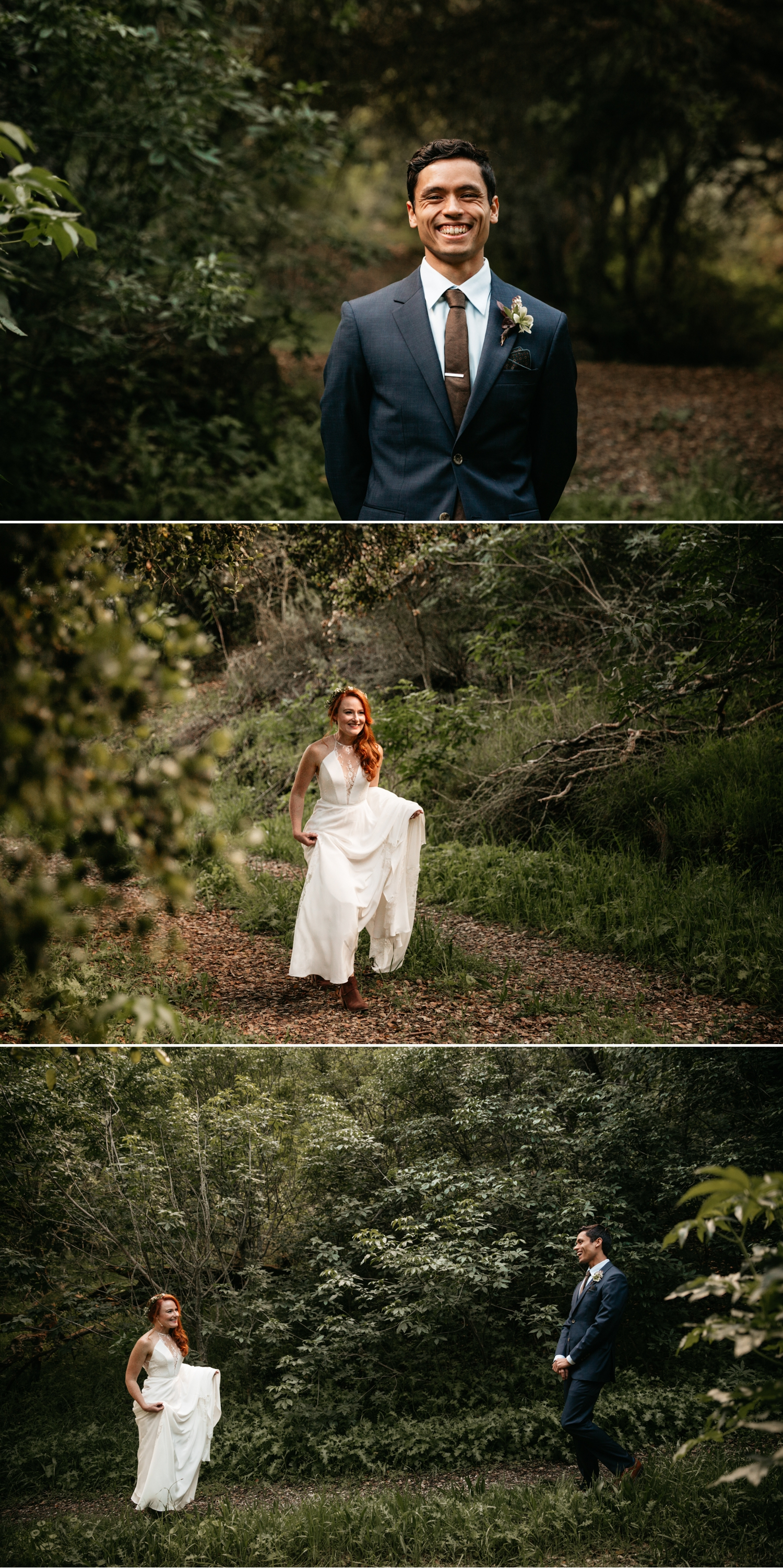 Intimate wedding first look in Santa Cruz