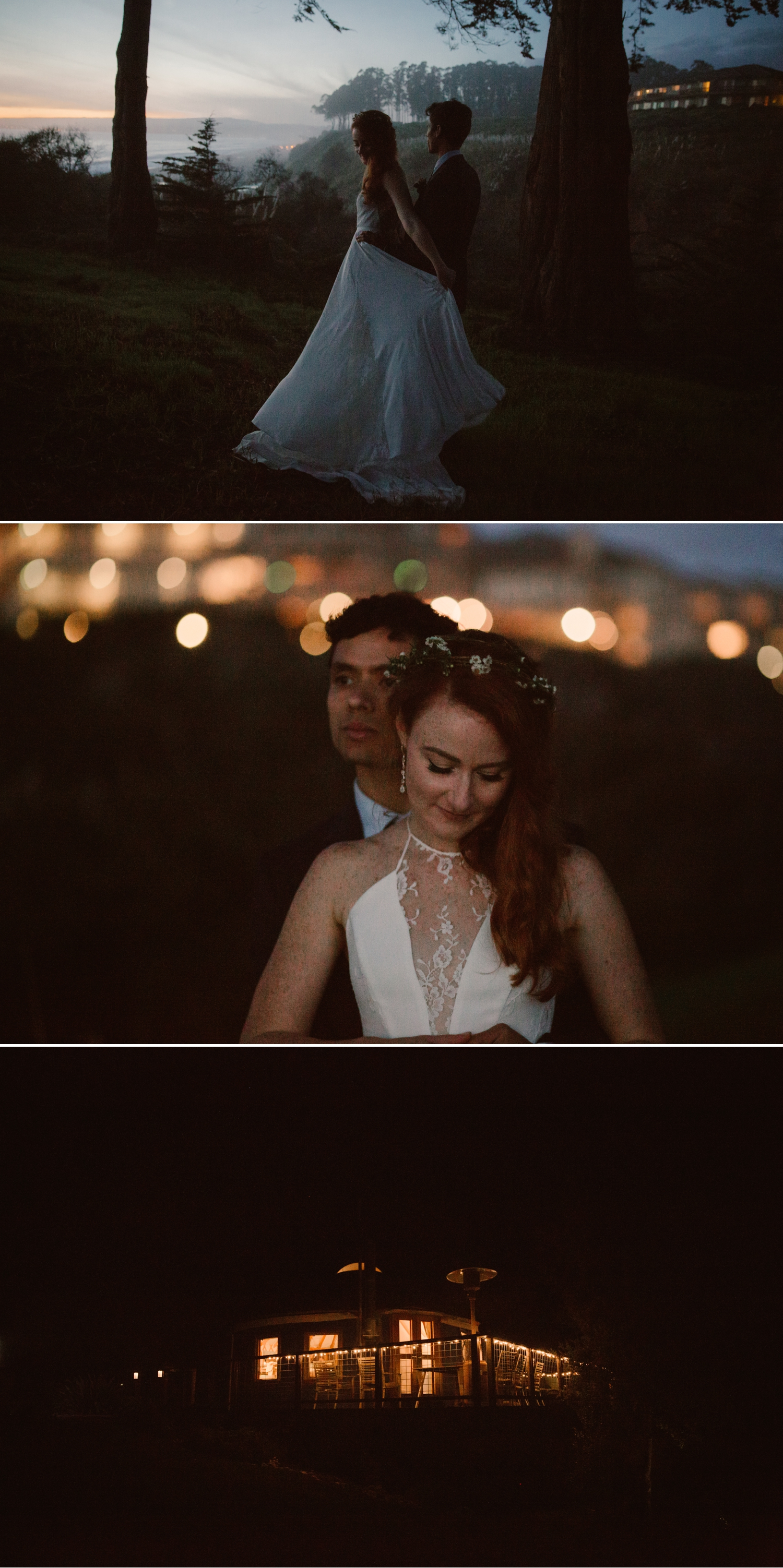 Twilight wedding portraits in Santa Cruz by Paige Nelson