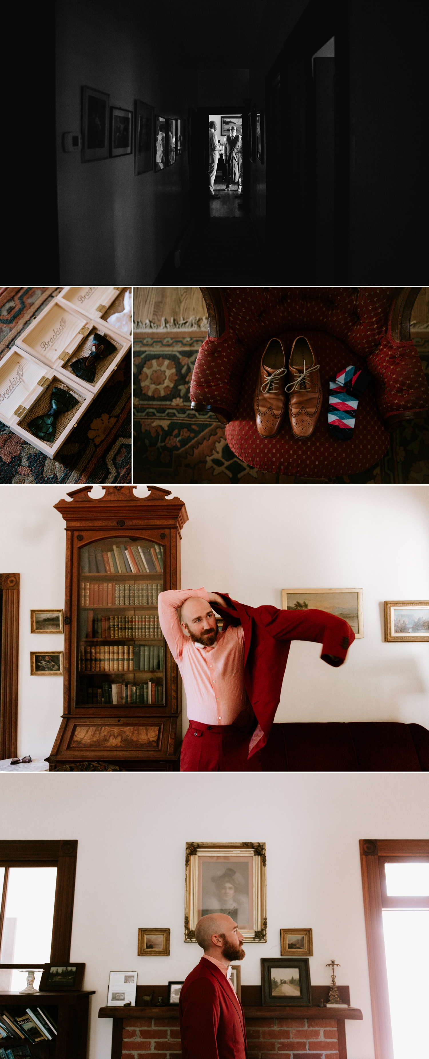 Groom's red suit inspiration by Beckett Rob, Photos by Paige Nelson