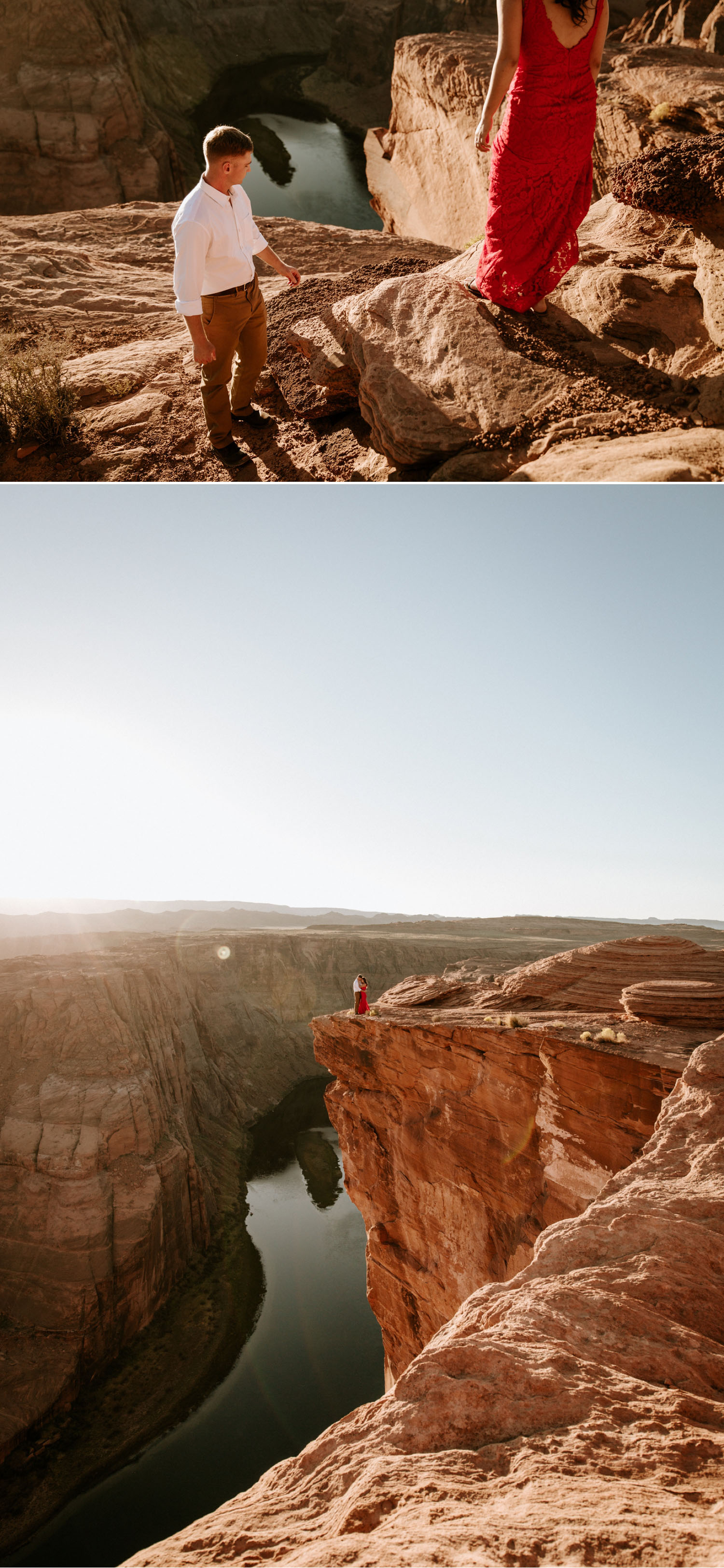 Golden hour Horseshoe Bend Engagement in Page by Paige Nelson Photography