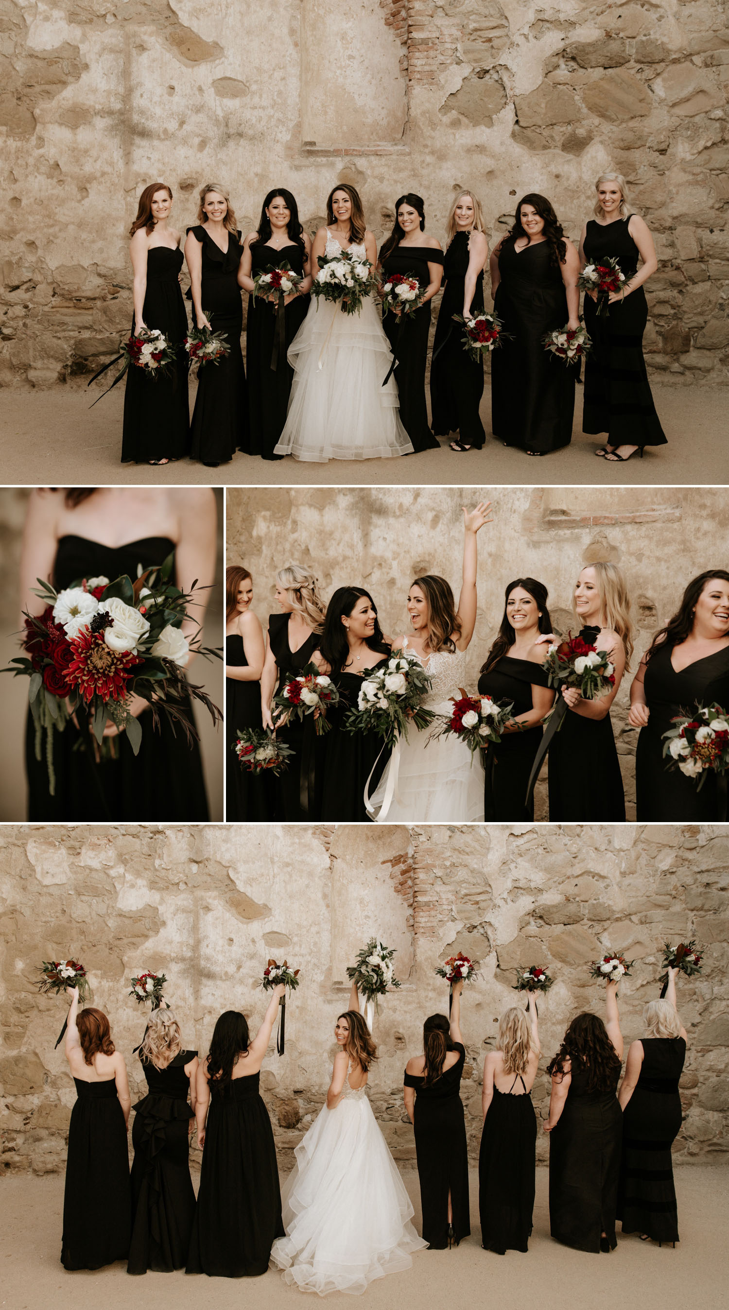 All black wedding party attire by san diego wedding photographer Paige Nelson