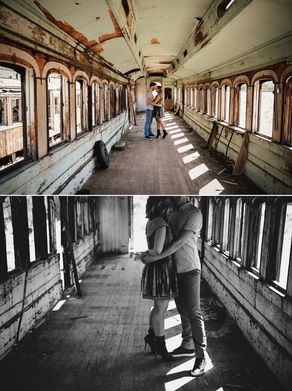 Abandoned trains engagement in Jacumba by San Diego photographer Paige Nelson