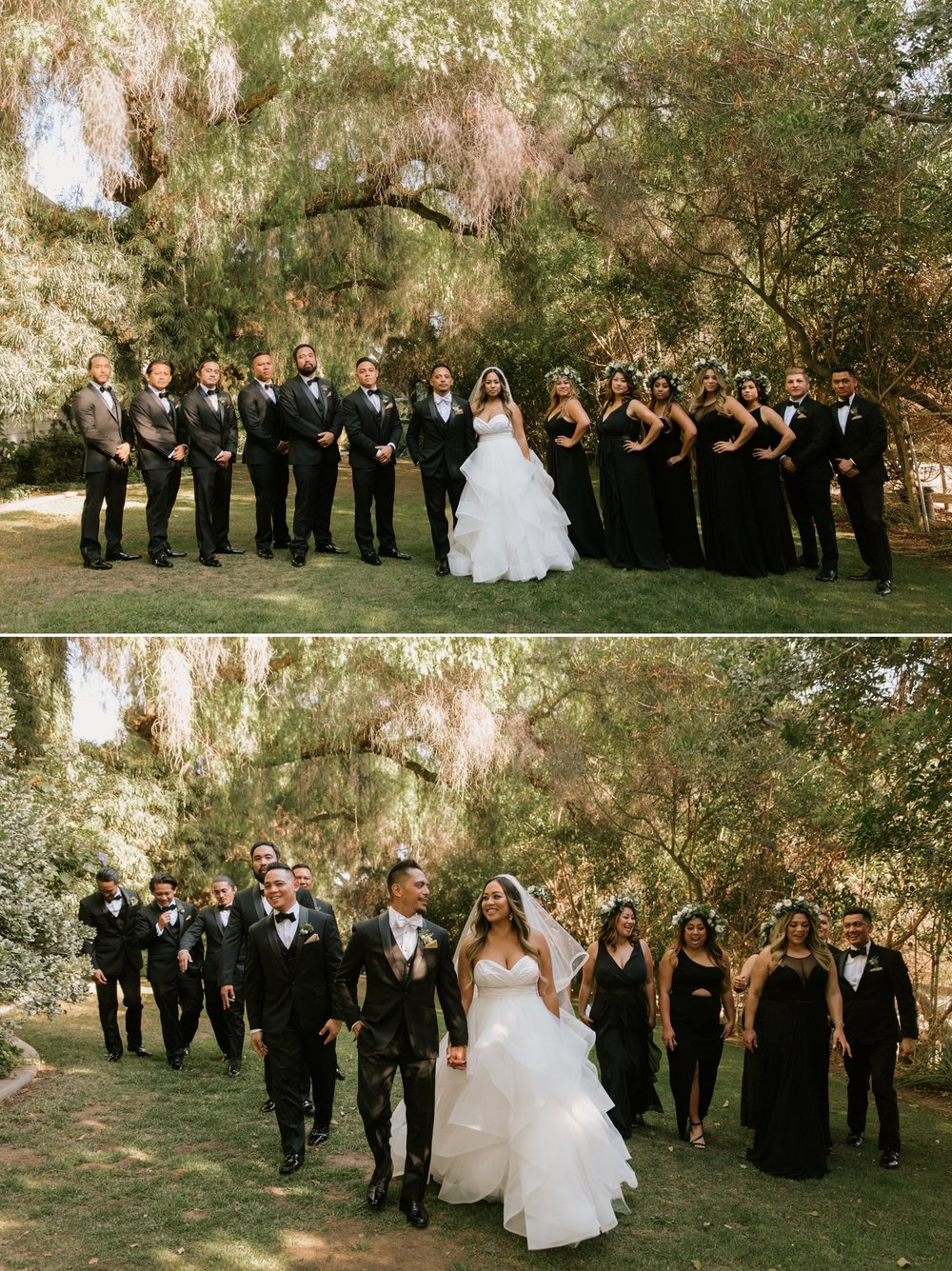 All black bridal party attire with bride wearing Haley Paige Londyn Gown in San Diego