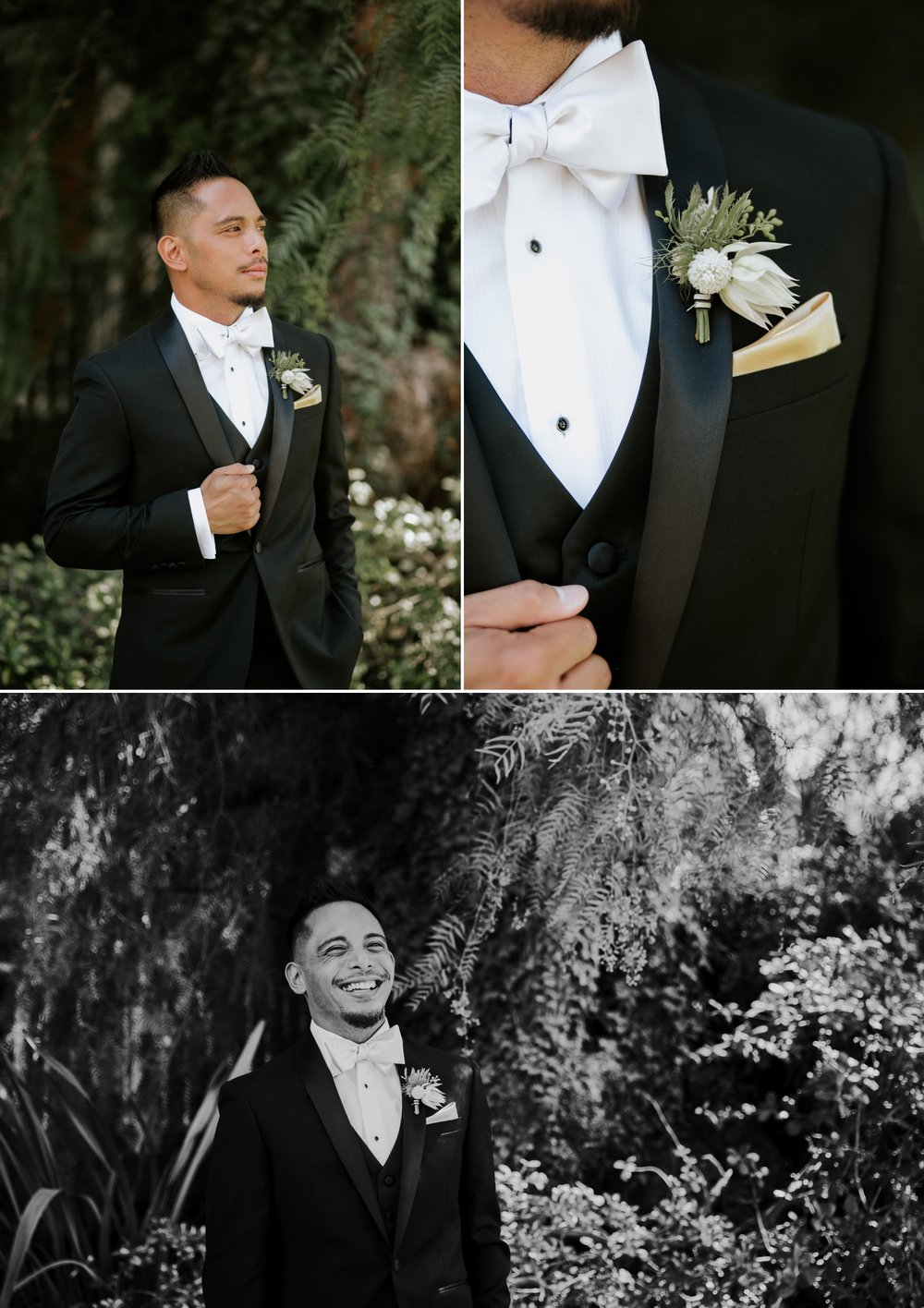 Black tie formal groom's attire by Calvin Klein. Photographed by San Diego wedding photographer Paige Nelson