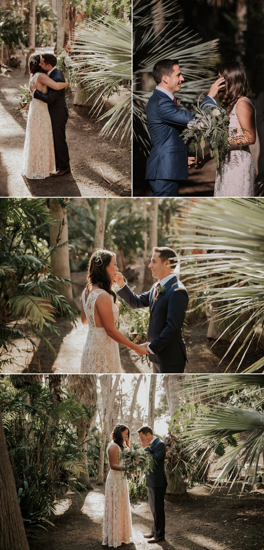 First look in Balboa park by San Diego wedding photographer Paige Nelson