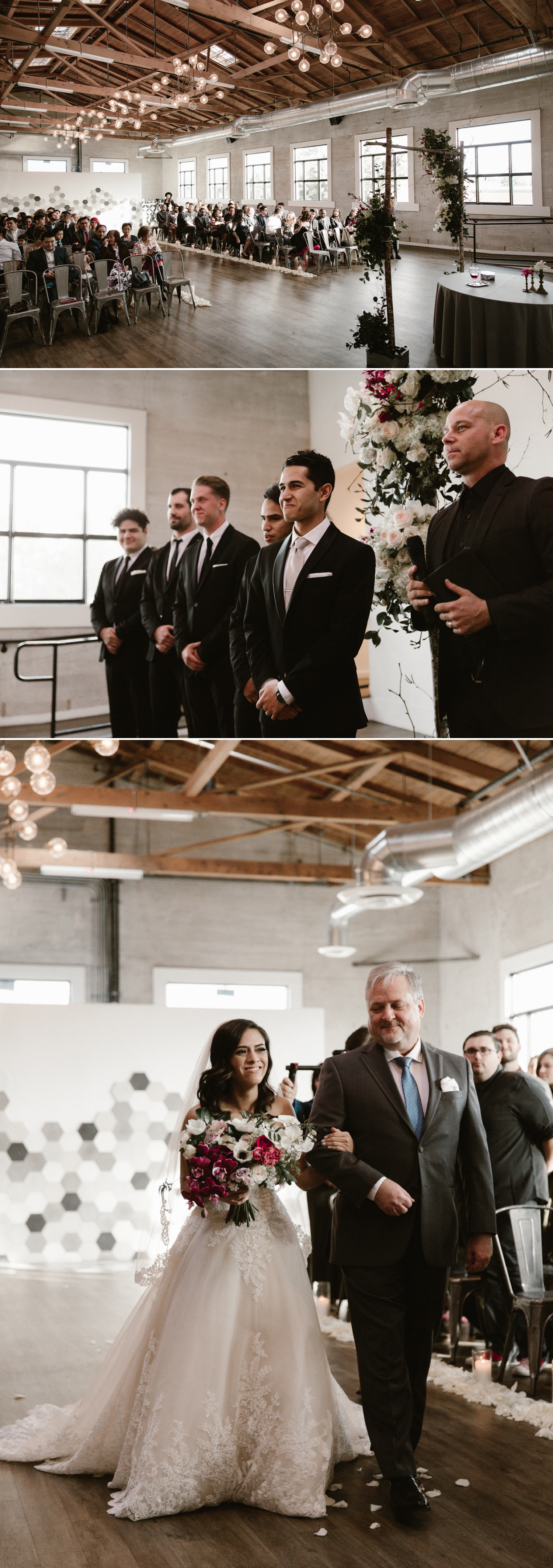 Indoor wedding ceremony at 1912 in Santa Ana by Paige Nelson