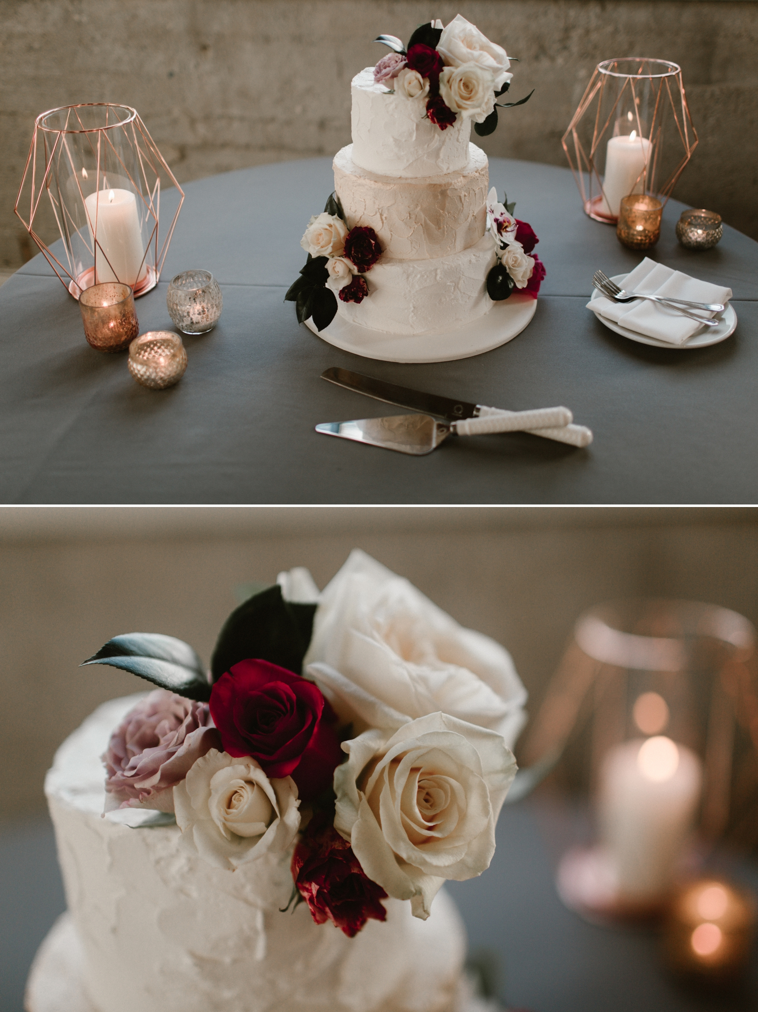 Cinderella Cakes, Indoor wedding reception at 1912 in Santa Ana by Paige Nelson