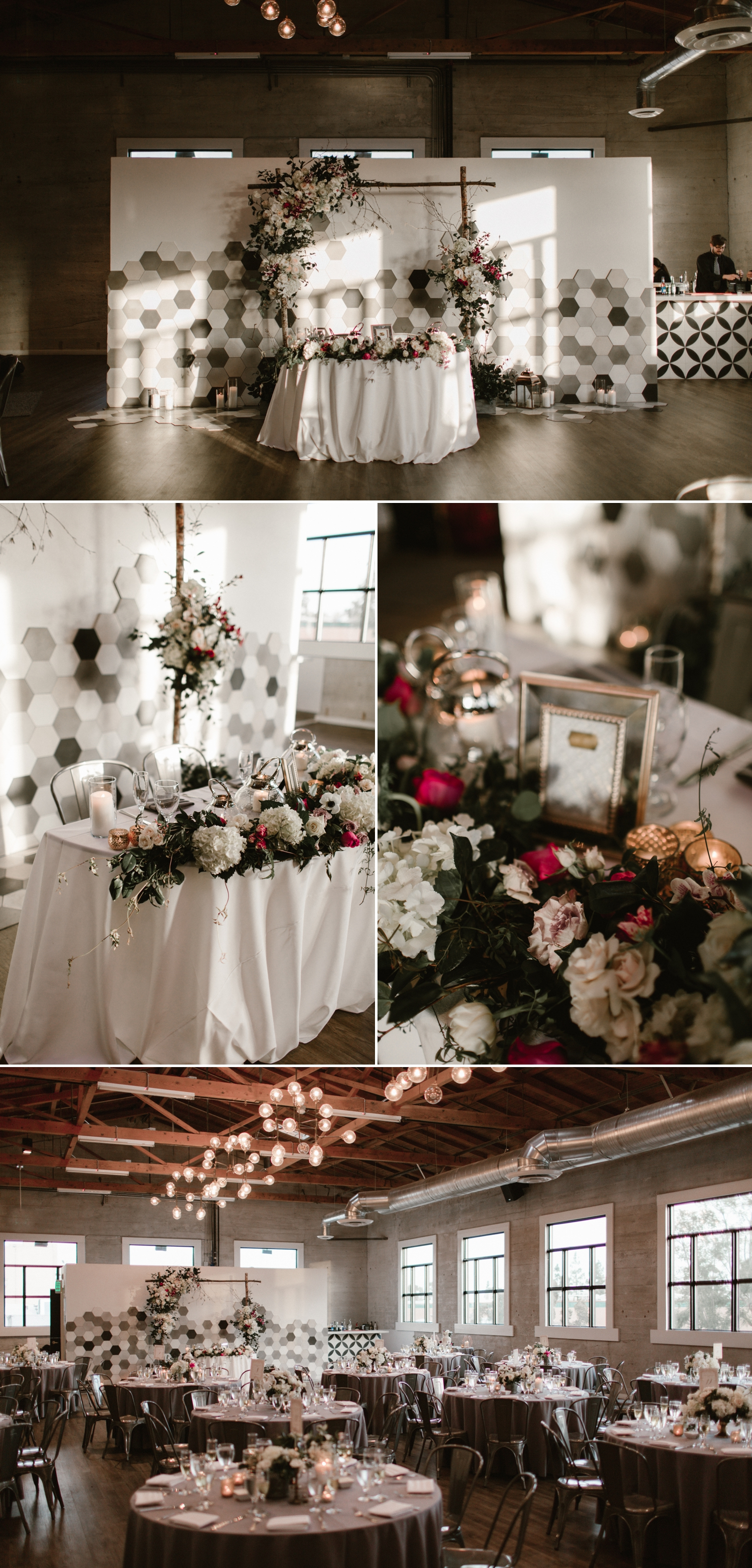 Sweetheart table, Indoor wedding reception at 1912 in Santa Ana by Paige Nelson