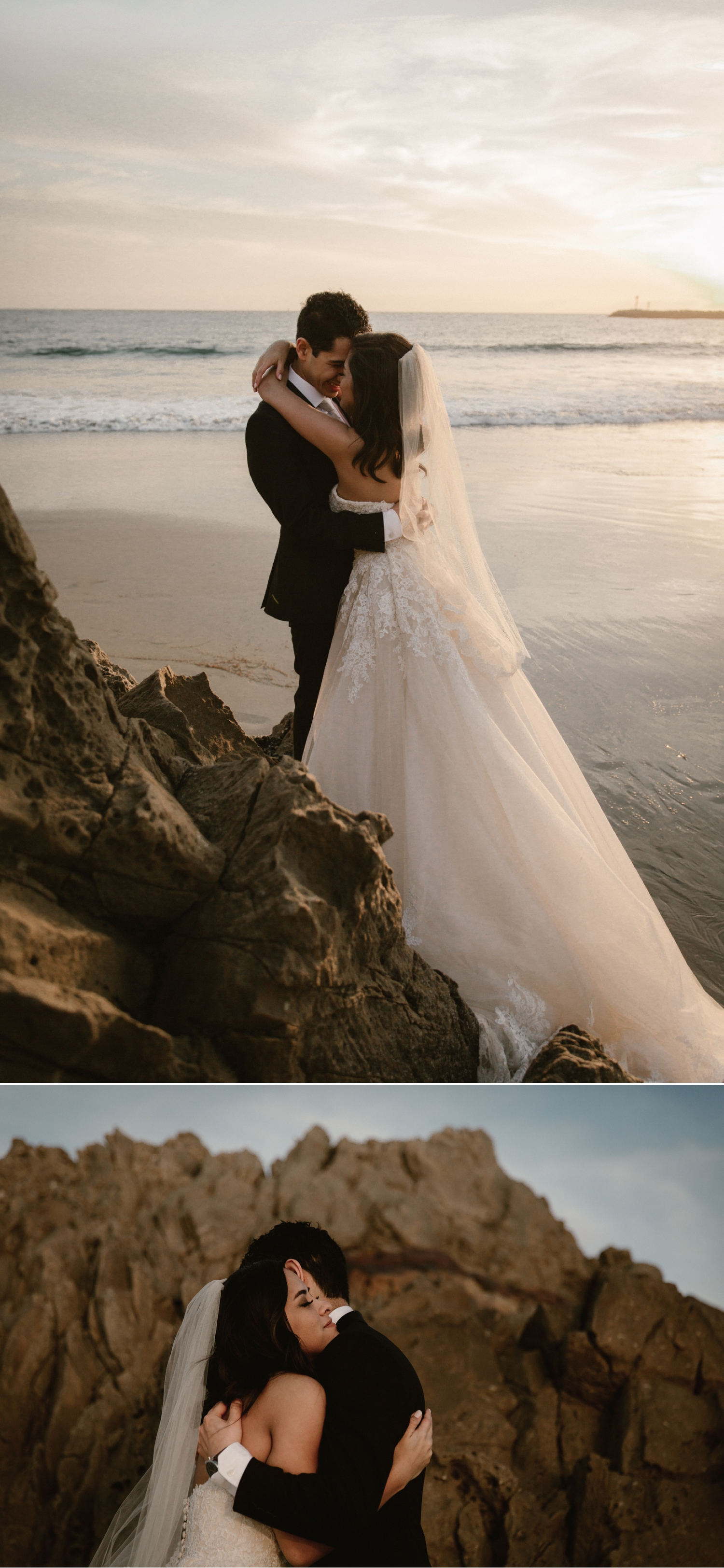 Bride and groom portraits at Inspiration Point in Corona del Mar by Paige Nelson