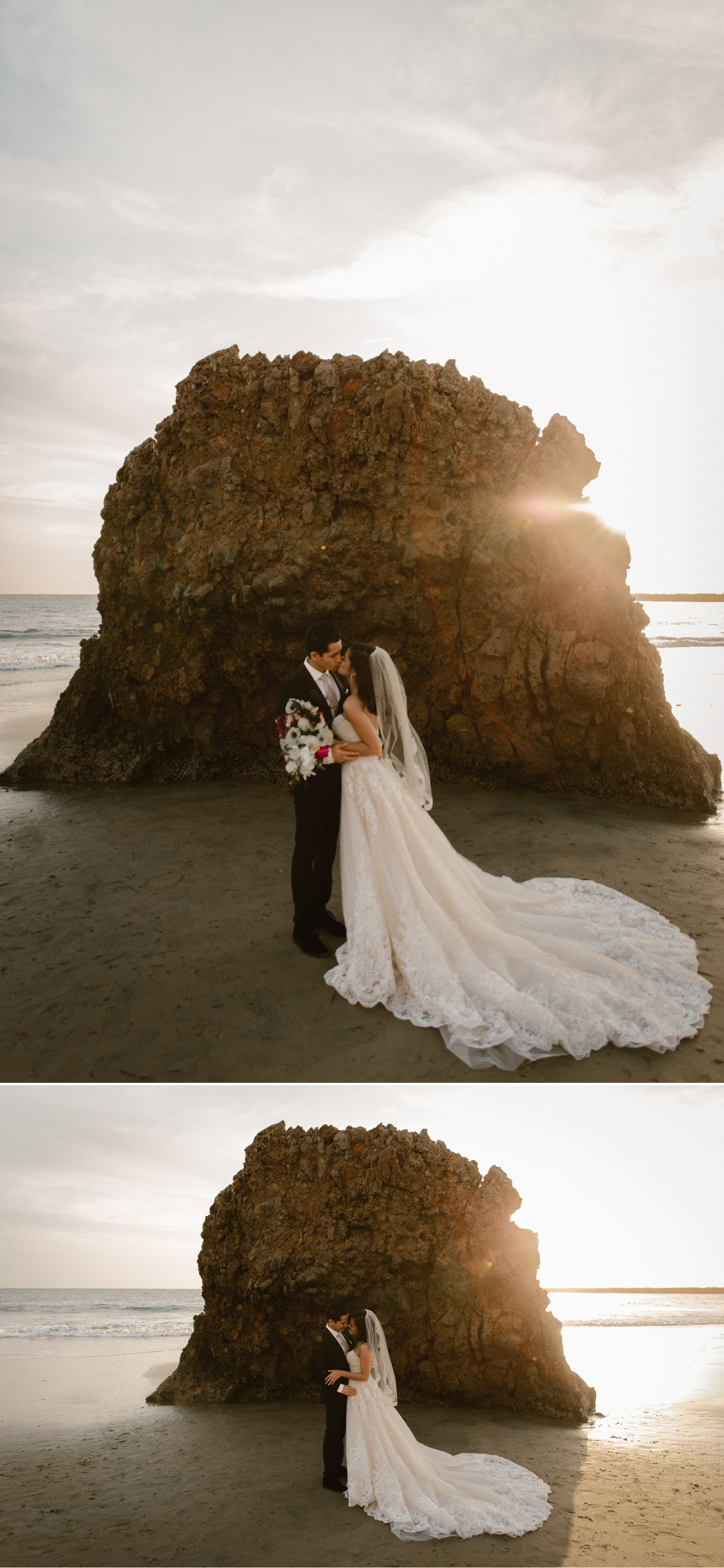 Sunset wedding portraits on beach at Inspiration Point by Paige Nelson