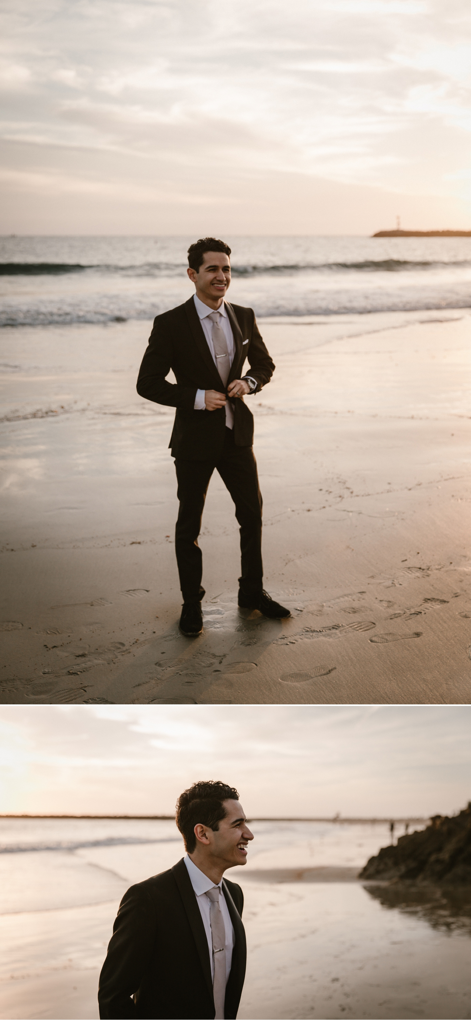 Beach groom portraits at Inspiration Point in Corona del Mar by Paige Nelson