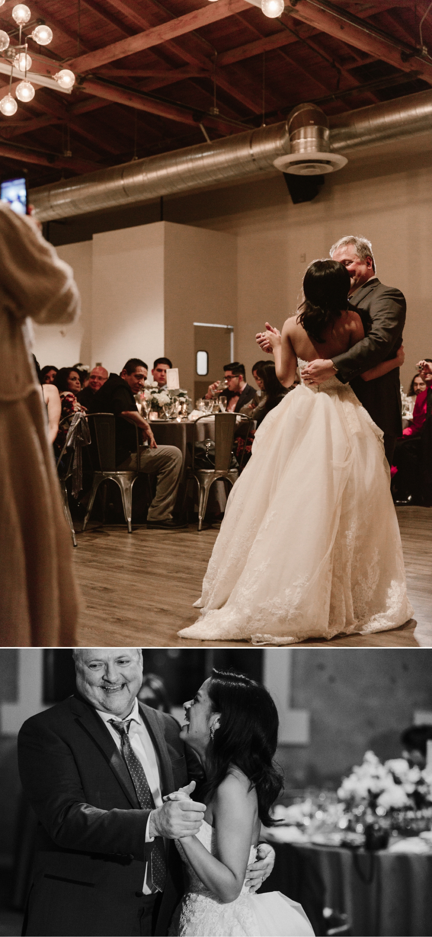 Father daughter dance, Indoor wedding reception at 1912 in Santa Ana by Paige Nelson
