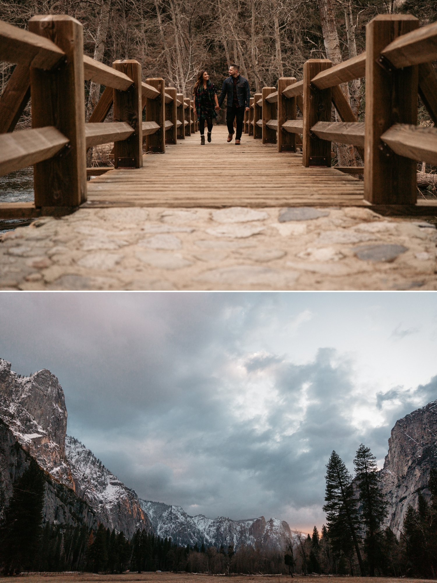 Yosemite engagement at lower yosemite fall by Paige Nelson, Nixie and Mike