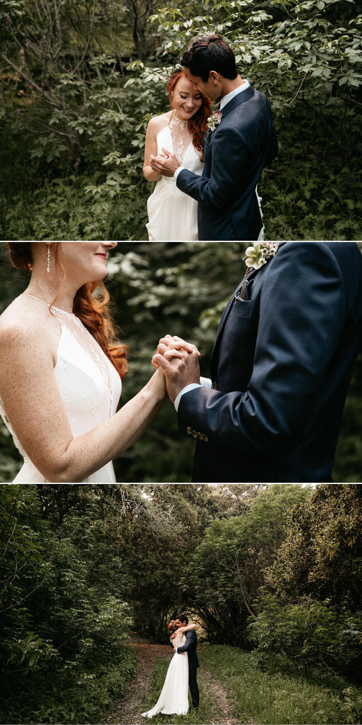 Intimate wedding first look in Santa Cruz