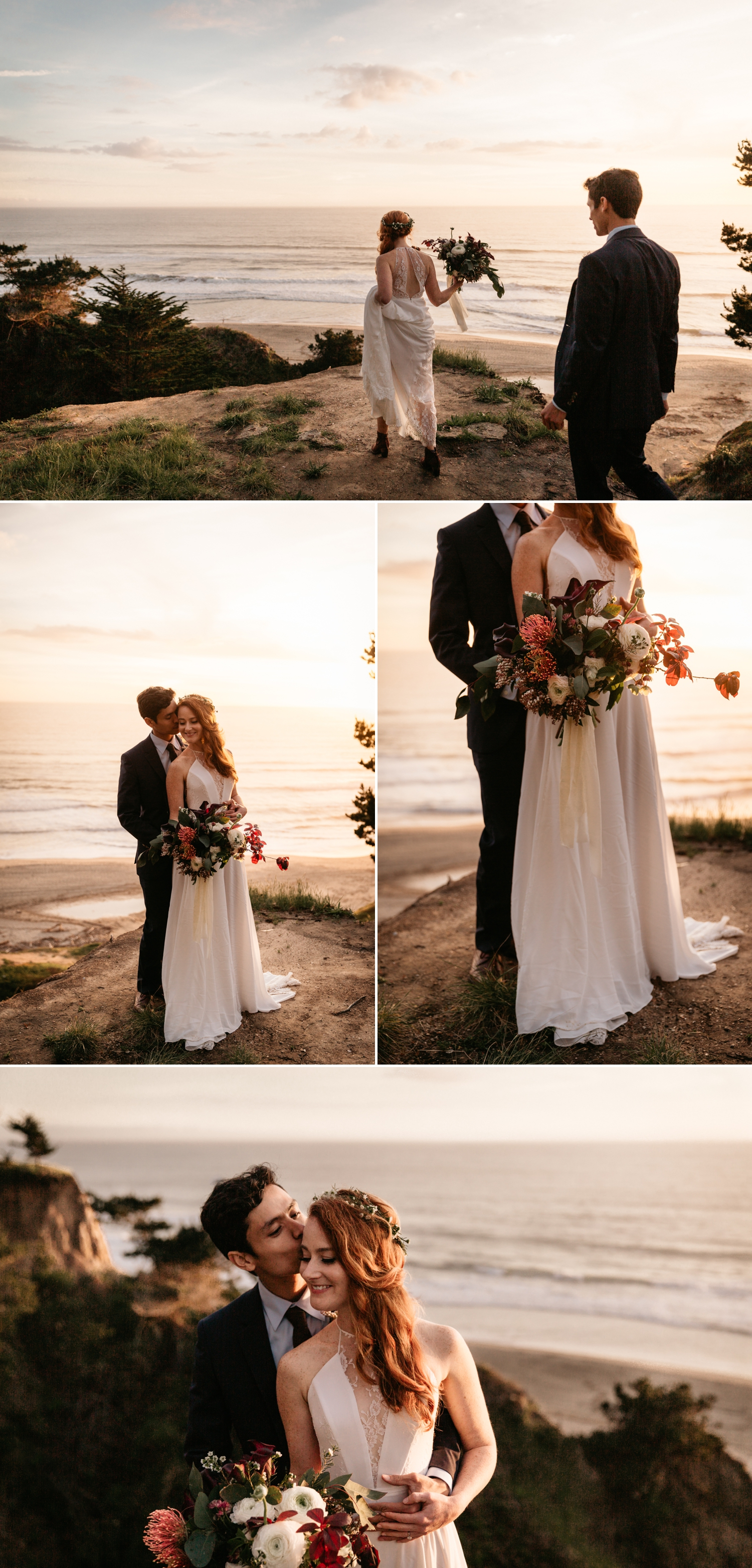 Sunset wedding pictures at beach by Paige Nelson