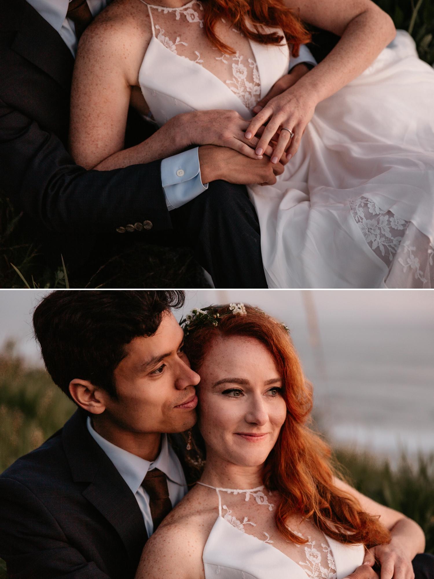 Santa Cruz sunset wedding on coast by Paige Nelson