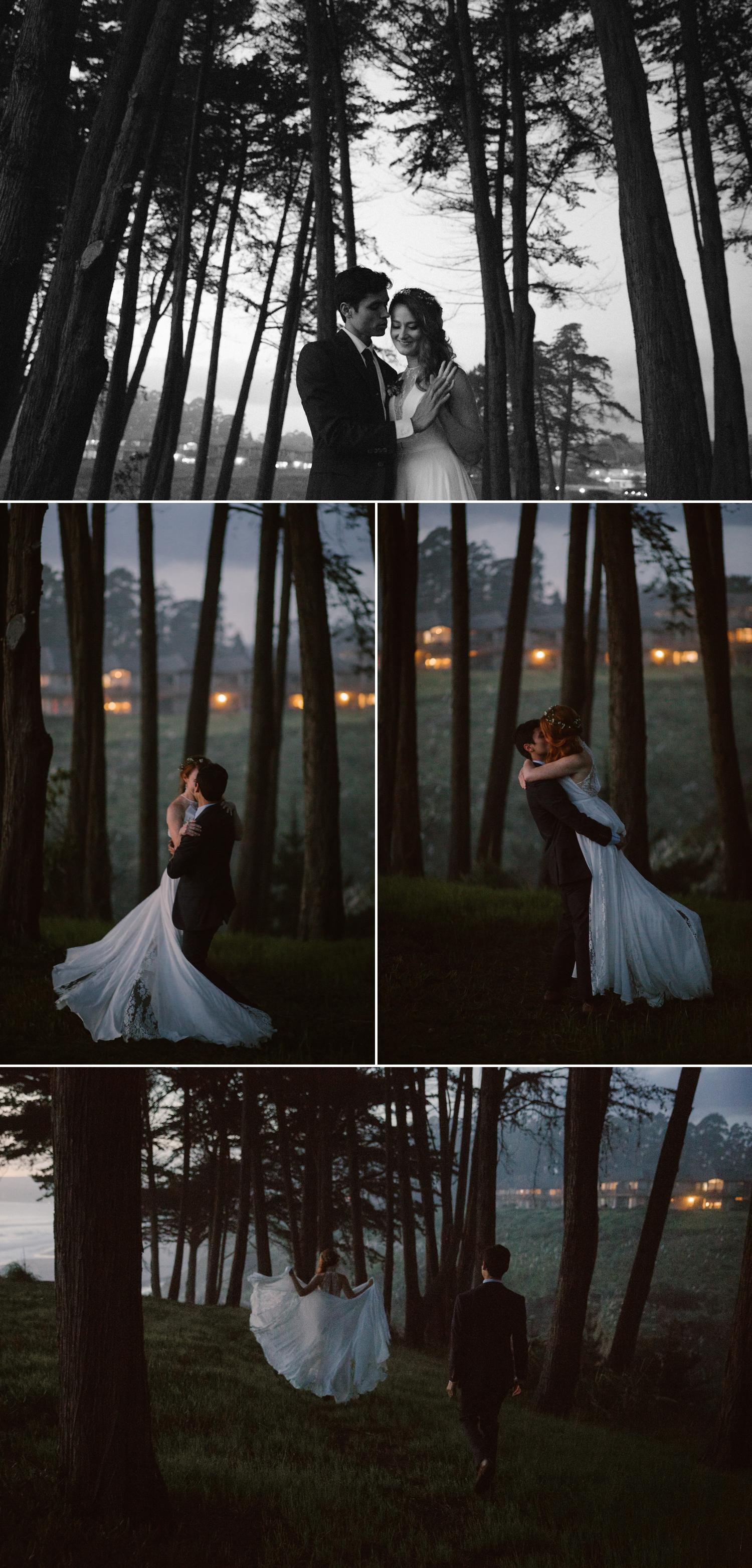 Twilight wedding portraits in Santa Cruz by Paige Nelson