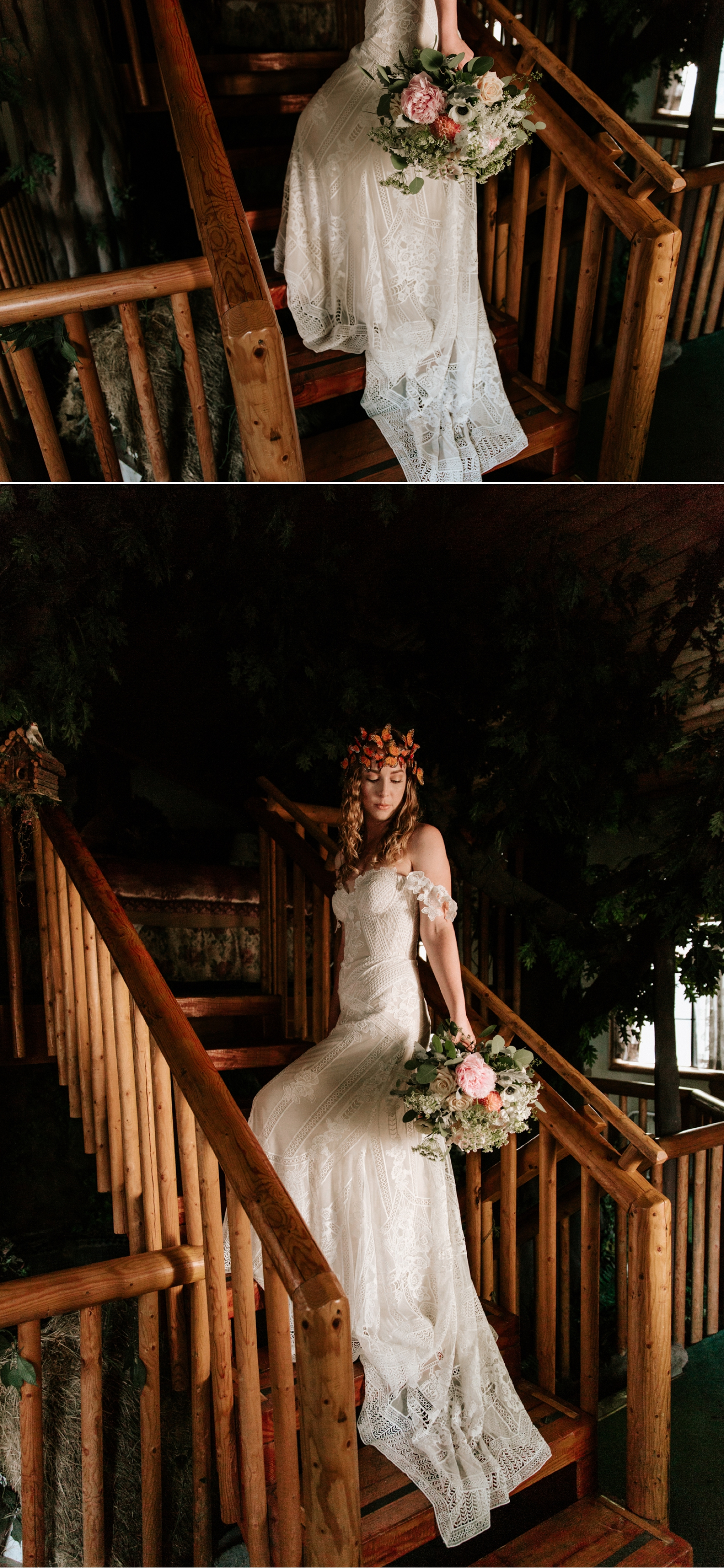 Bohemian Big Bear elopement with Monarch Butterfly Crown and Fox Gown