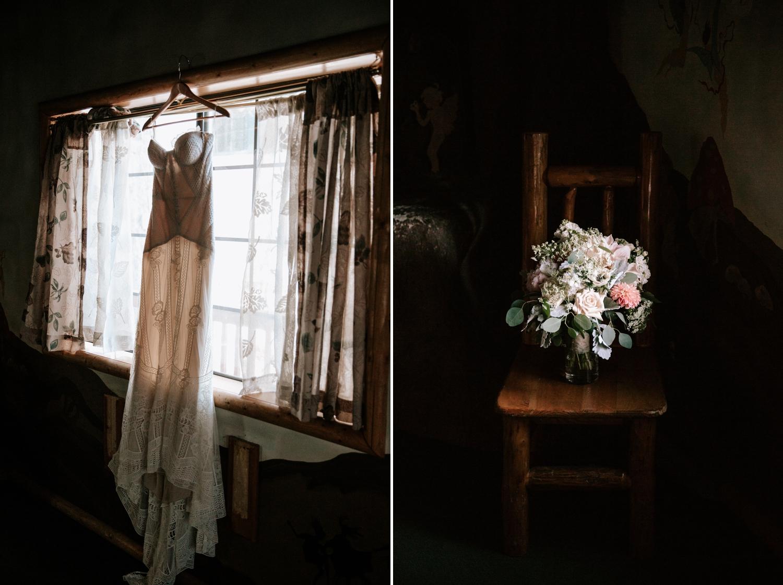 Bohemian elopement in Big Bear with Fox Gown by Rue de Seine Bridal
