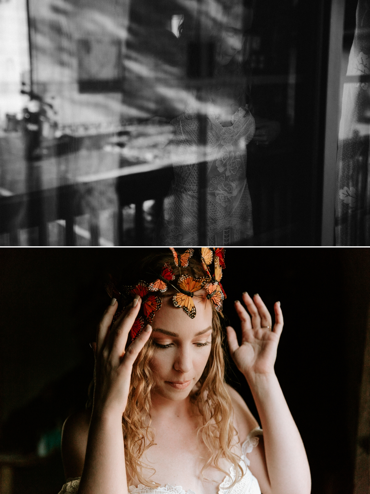 Bohemian Big Bear elopement with Monarch Butterfly Crown