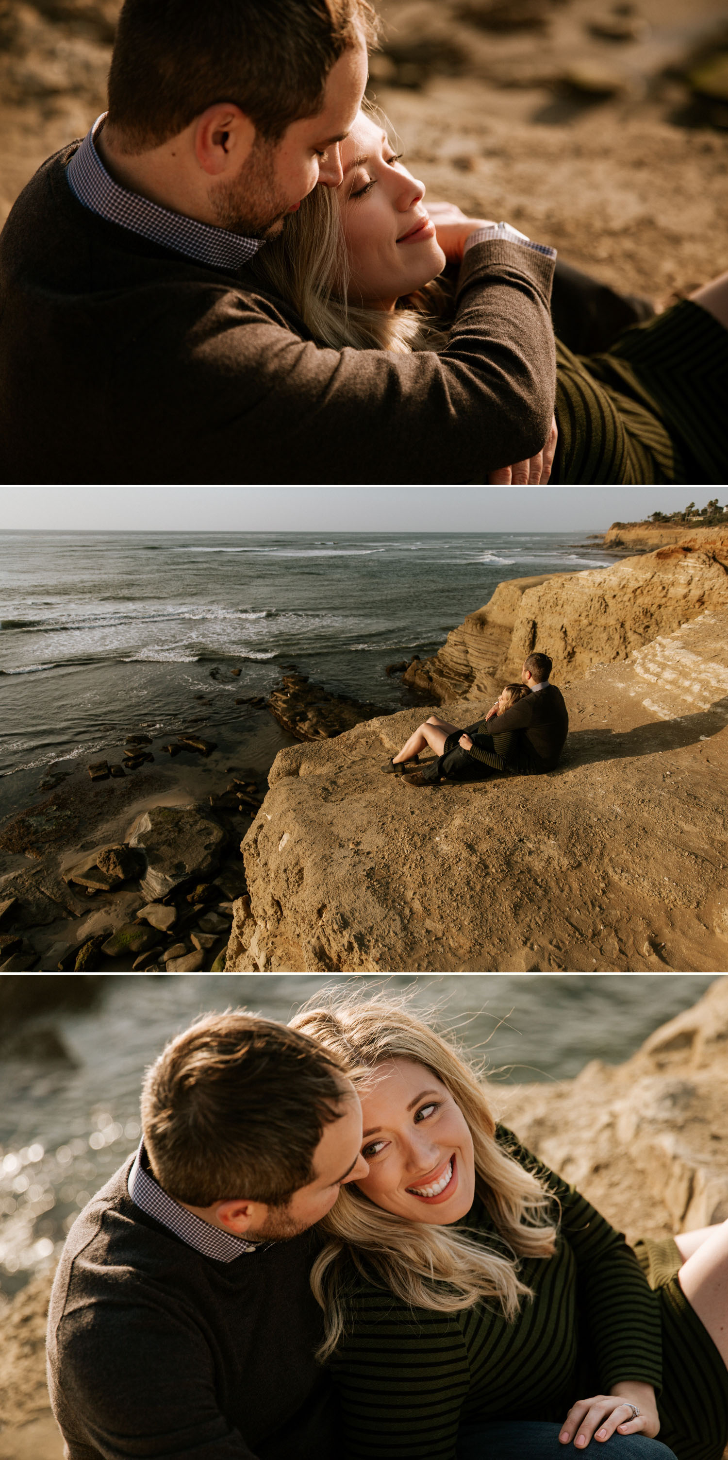 Golden hour Sunset Cliffs engagement in San Diego by Paige Nelson