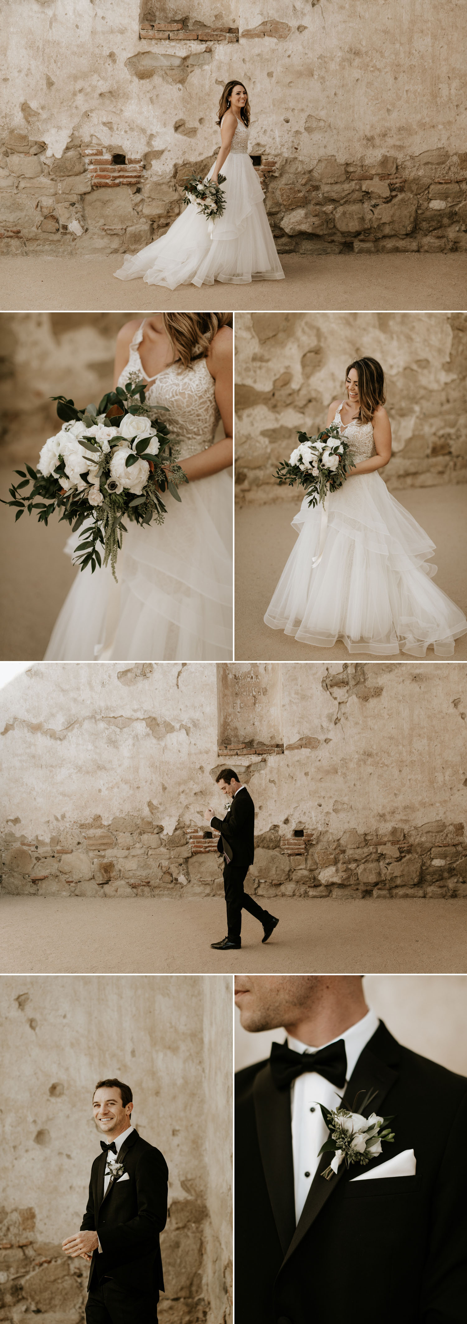 Wedding portraits at Mission San Juan Capistrano by orange county wedding photographer Paige Nelson