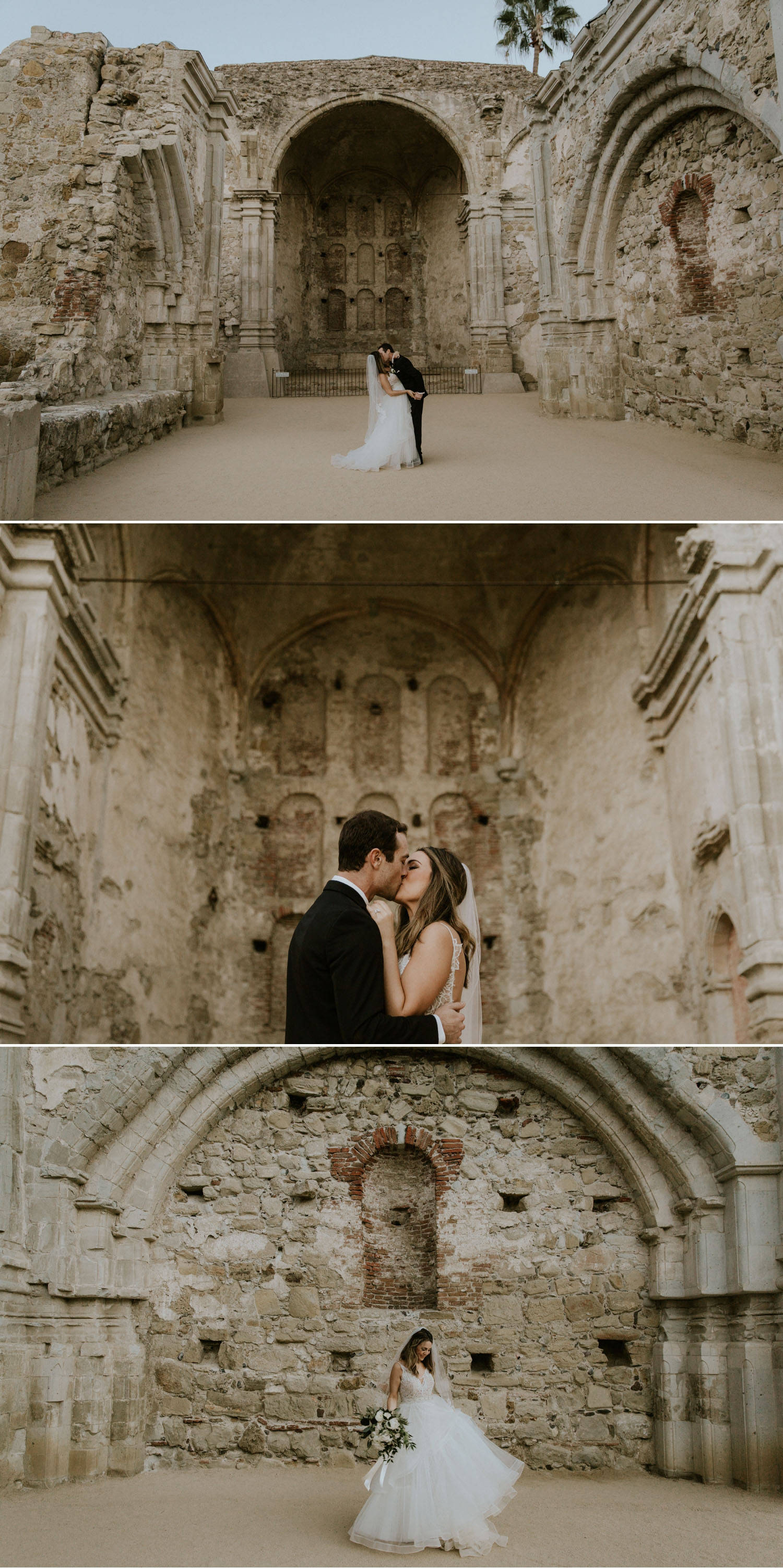 Wedding portraits at Mission San Juan Capistrano by Paige Nelson Photography