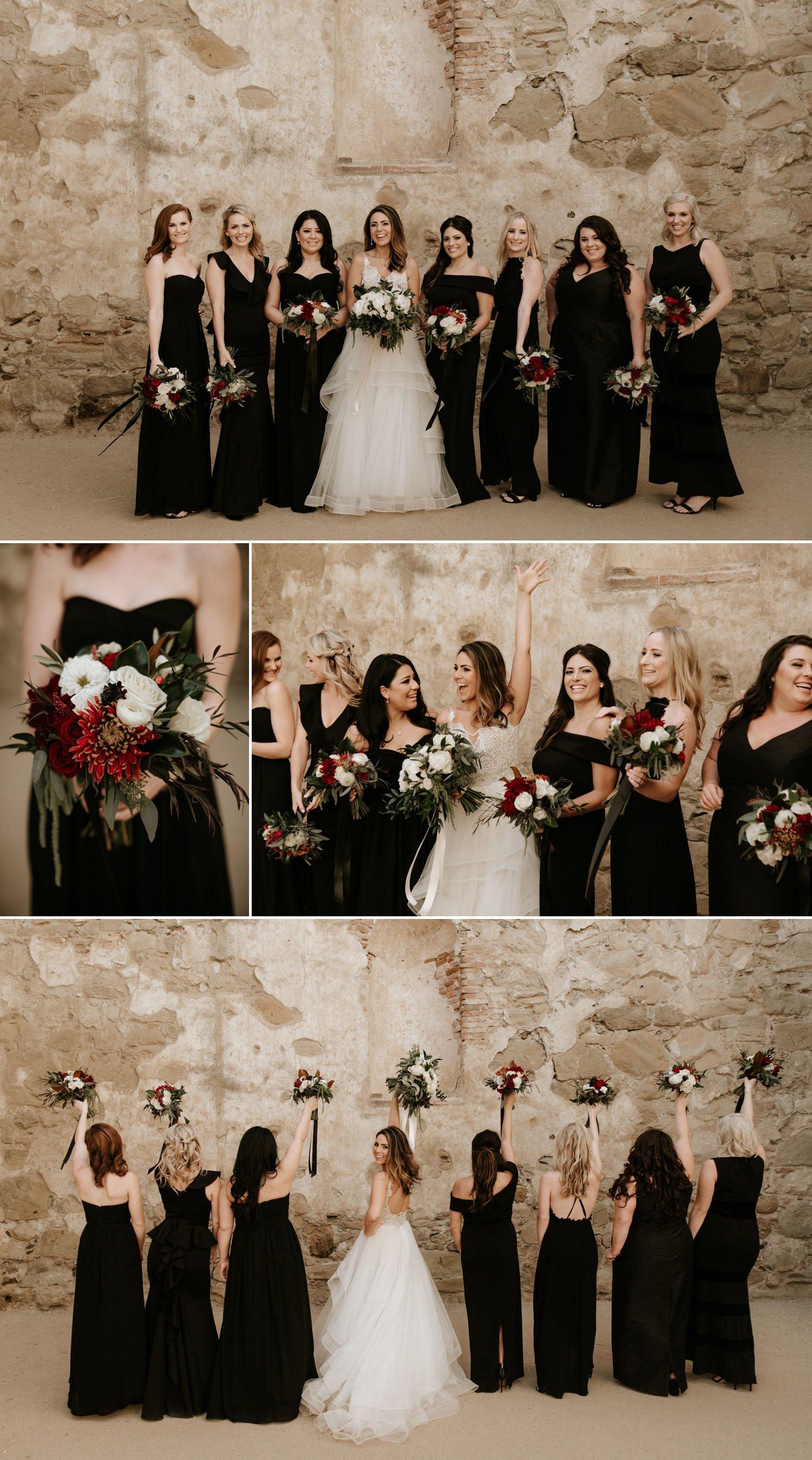 All black bridesmaid dress inspiration