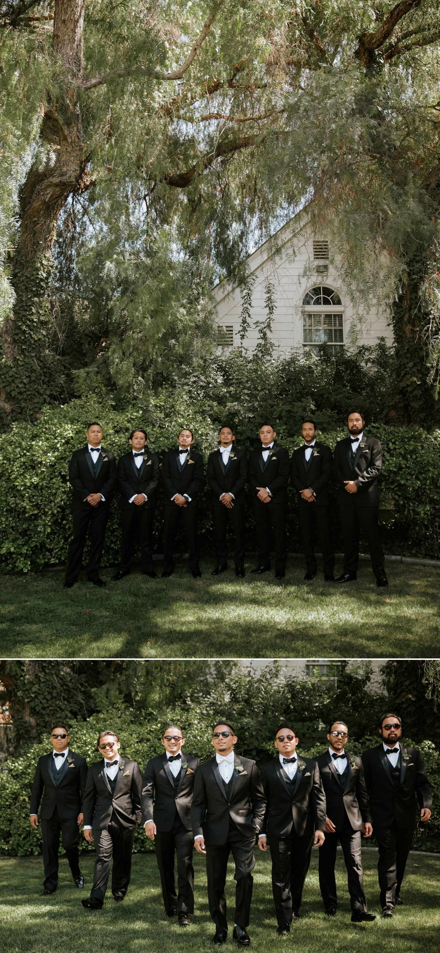All black tux groomsman