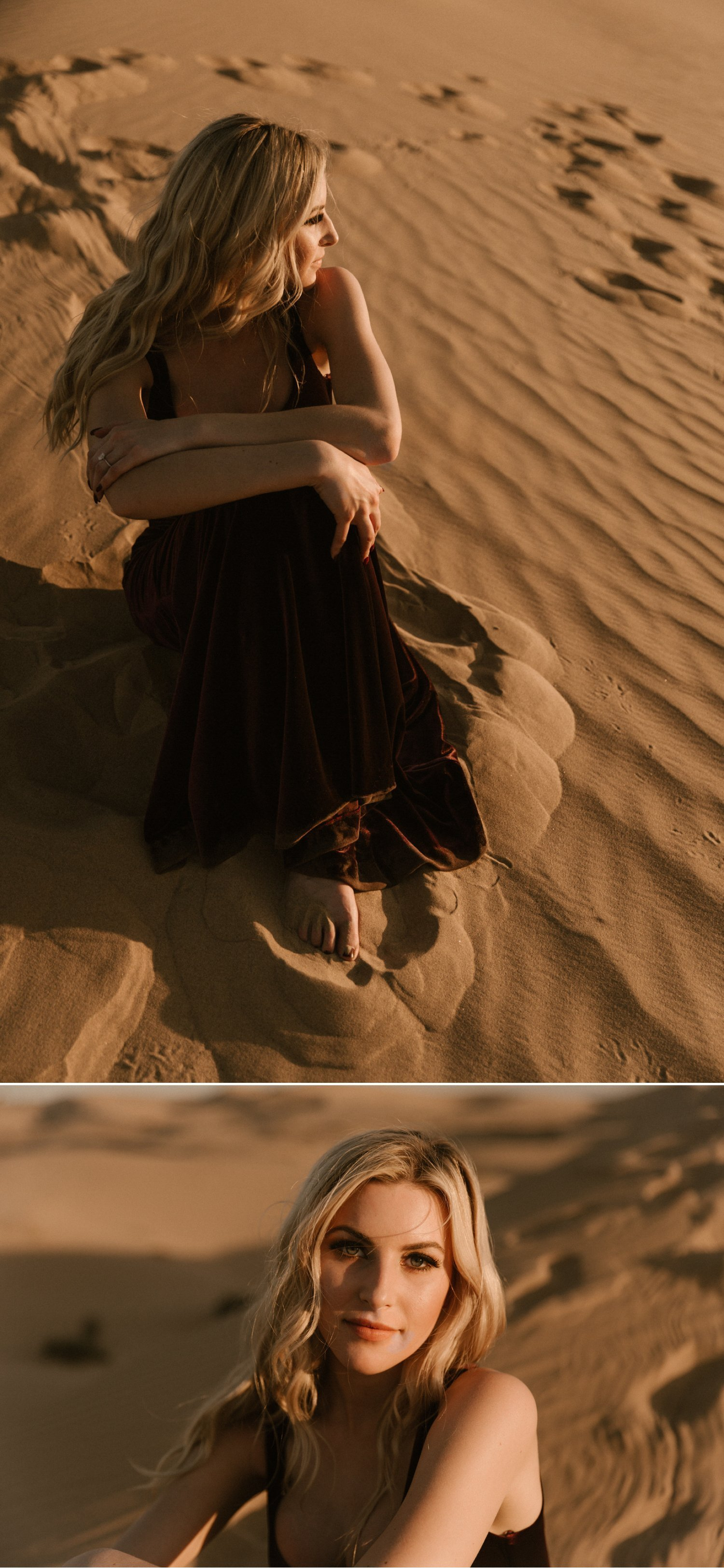 Stylish sand dunes engagement Glamis