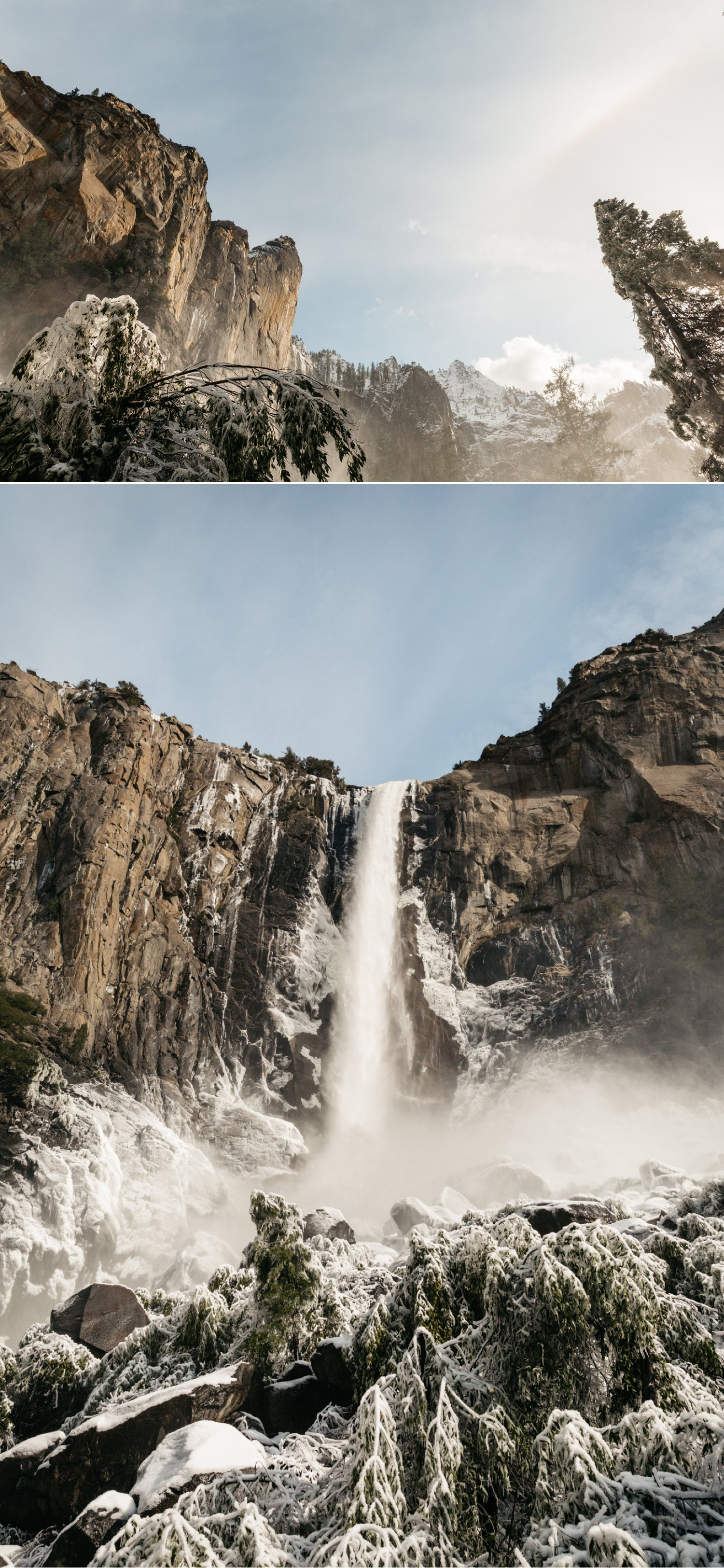 Bridal veil falls engagement Yosemite