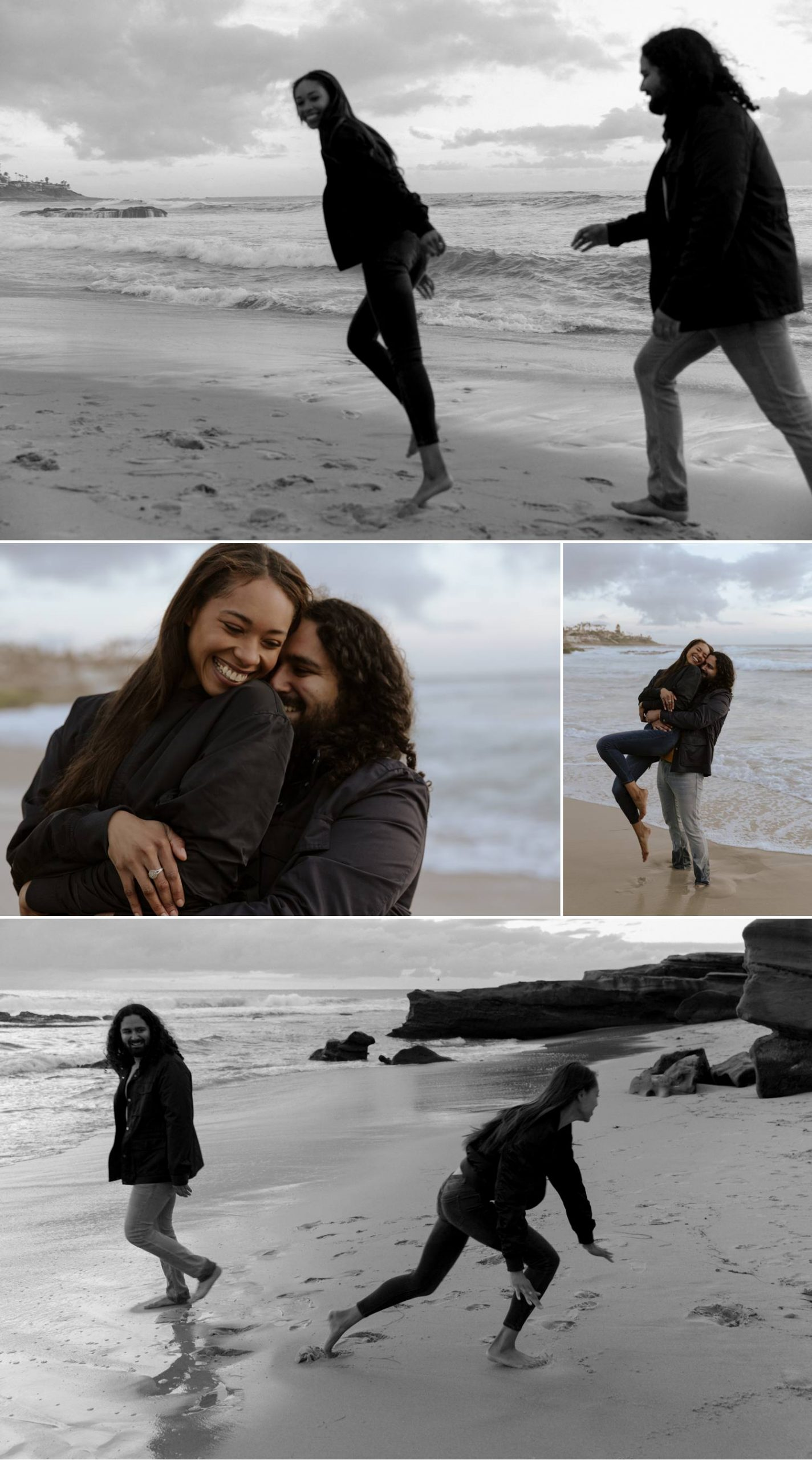 la jolla overcast beach engagement