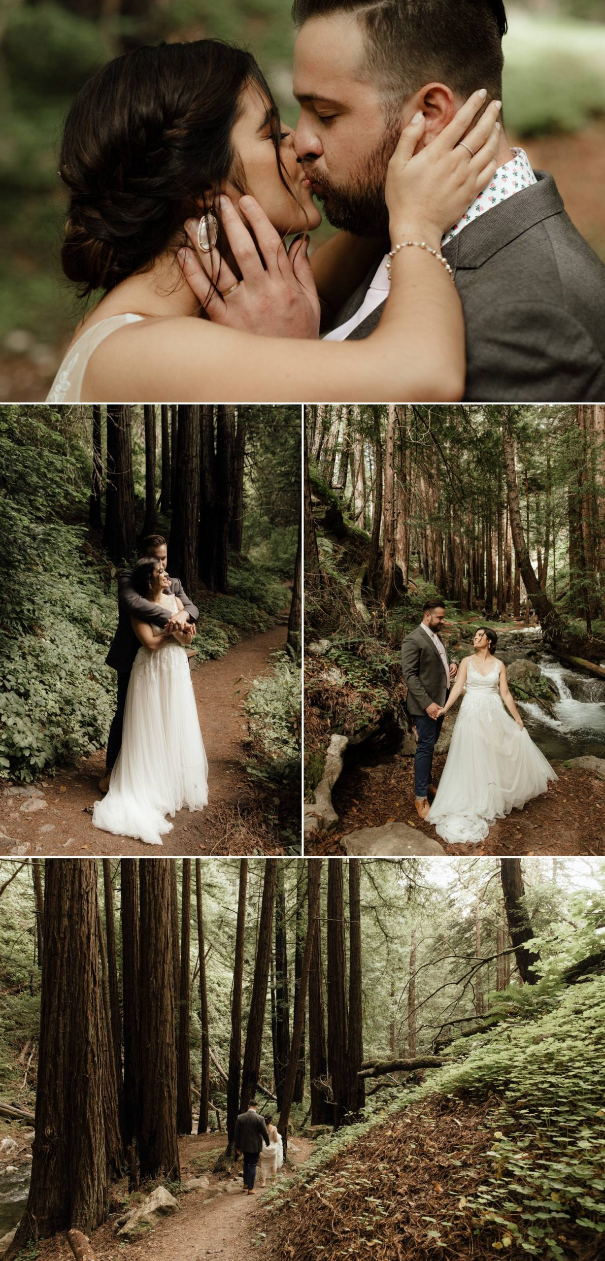 intimate wedding redwood forest bride
